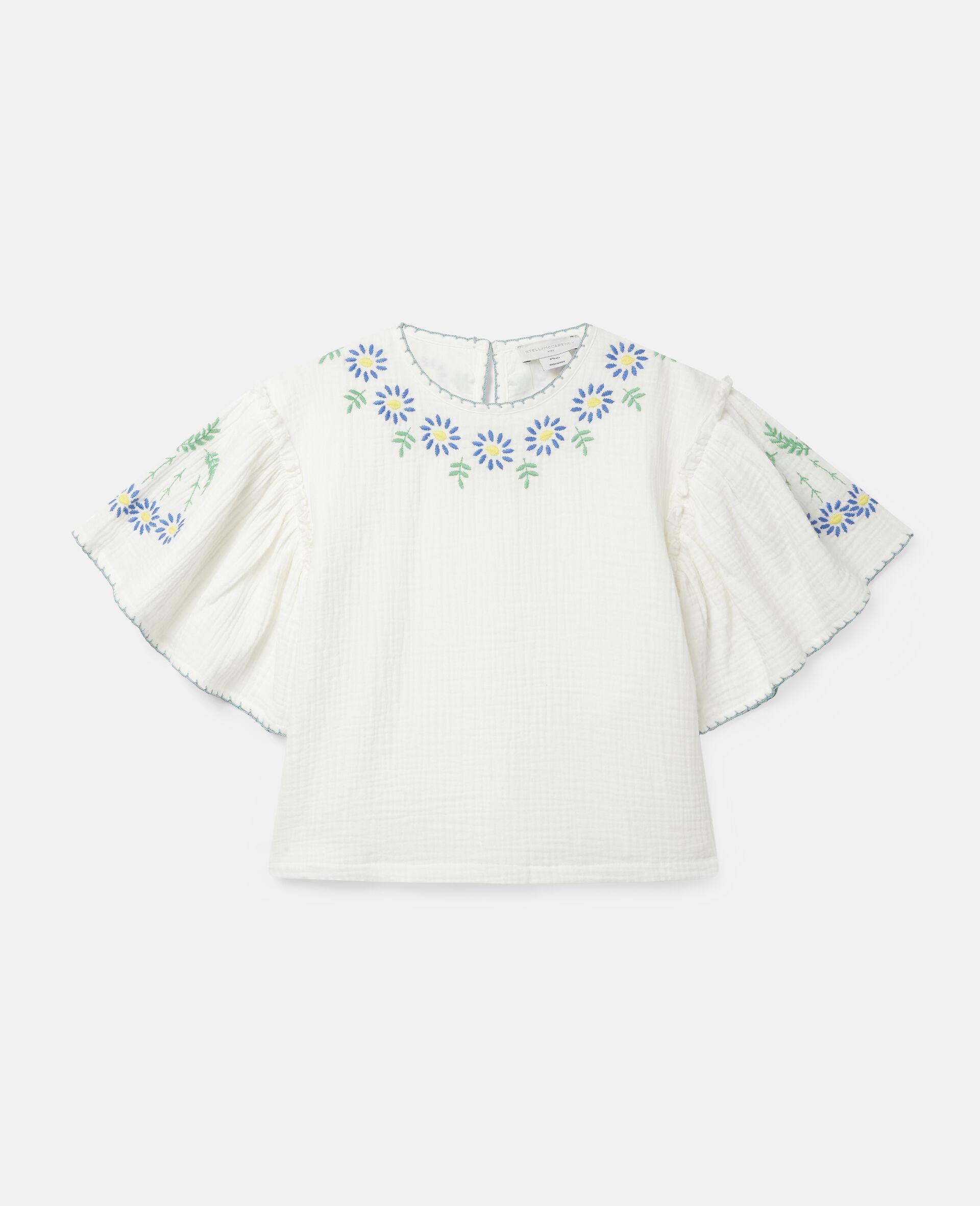 Haut en coton à fleurs brodées-Blanc-large image number 0