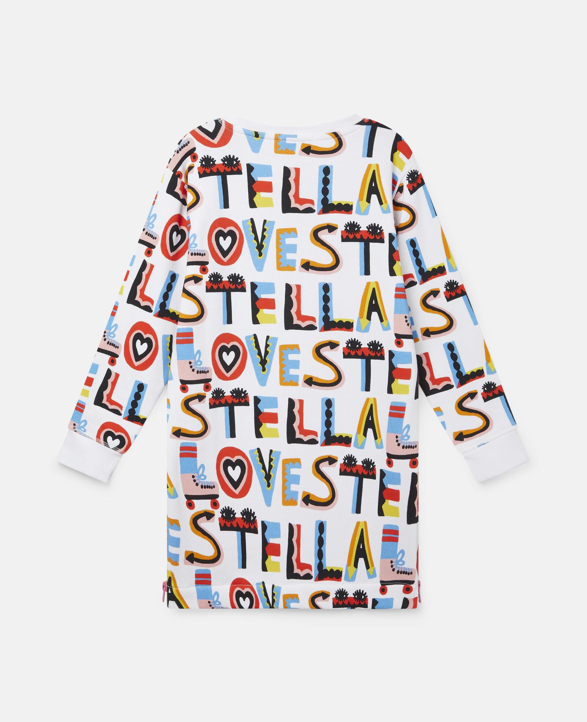 Kleid aus Baumwollfleece mit Stella Loves-Print-Weiß-large image number 3