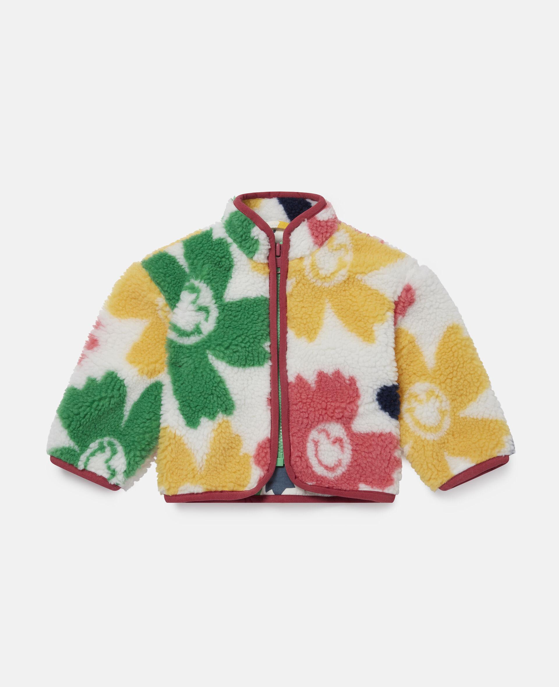 Veste en Teddy motif fleurs souriantes-Fantaisie-large image number 0
