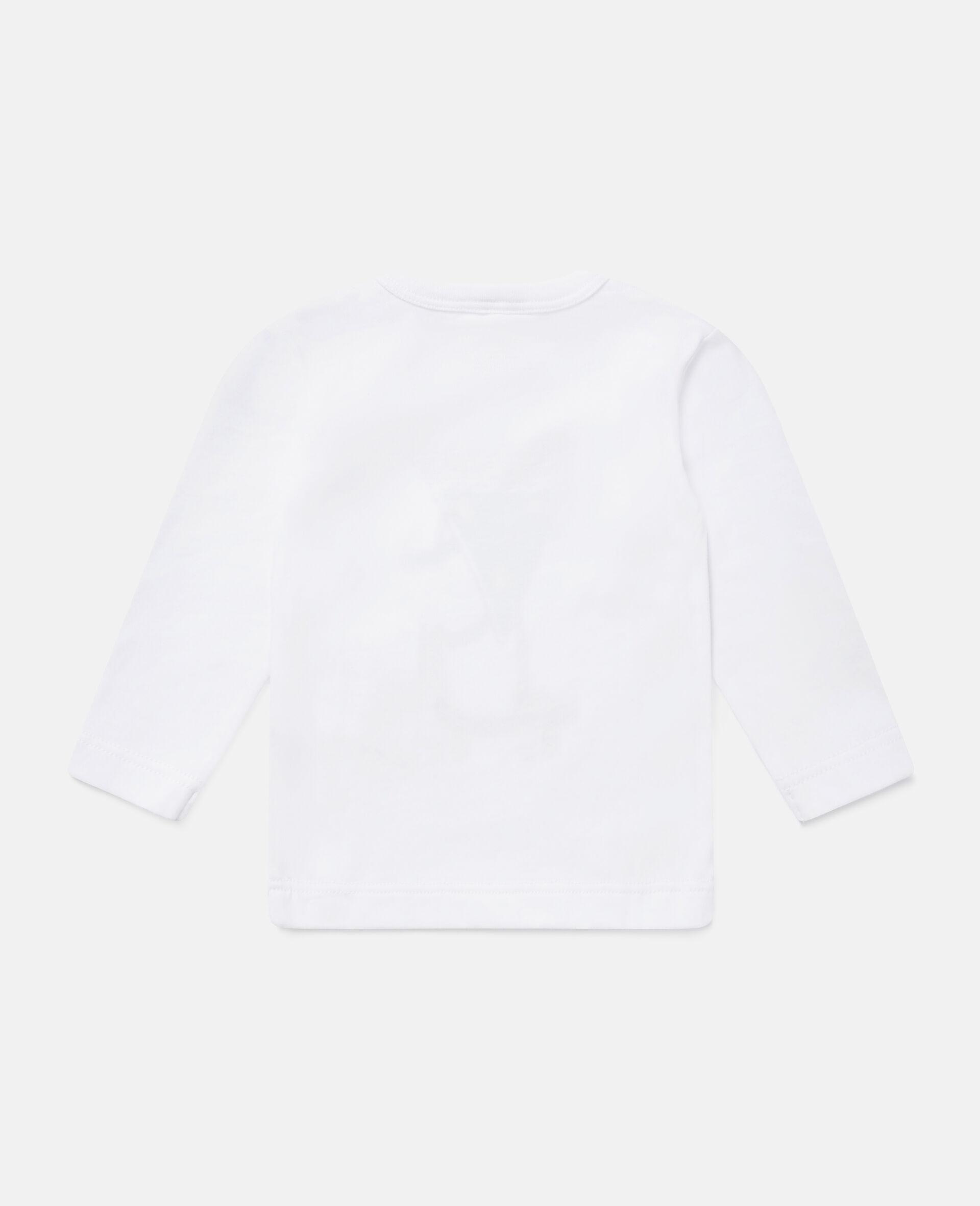 披萨滑板运动员印花平纹针织T恤-白色-large image number 3