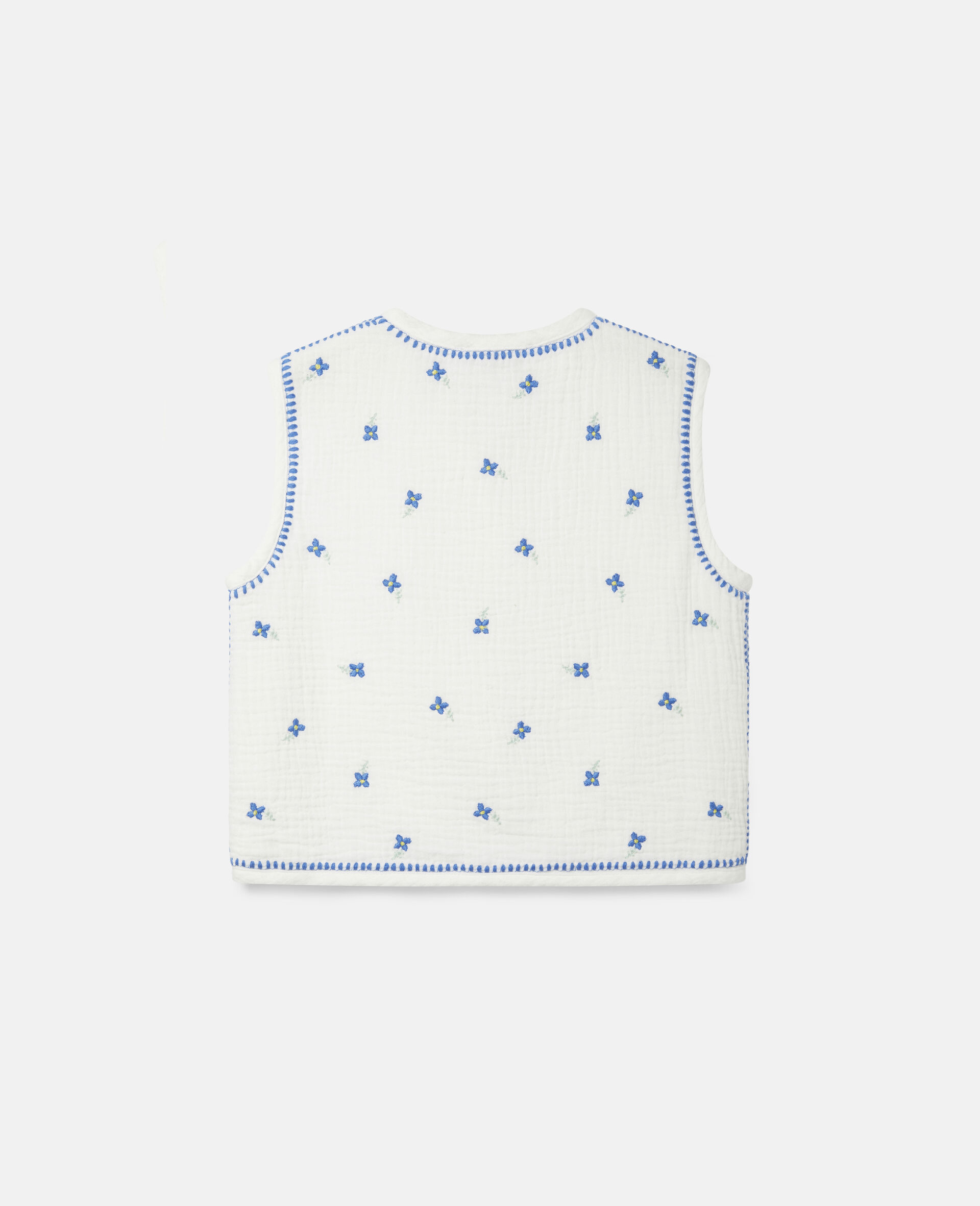 Embroidered Flowers Cotton Gilet-White-large image number 3