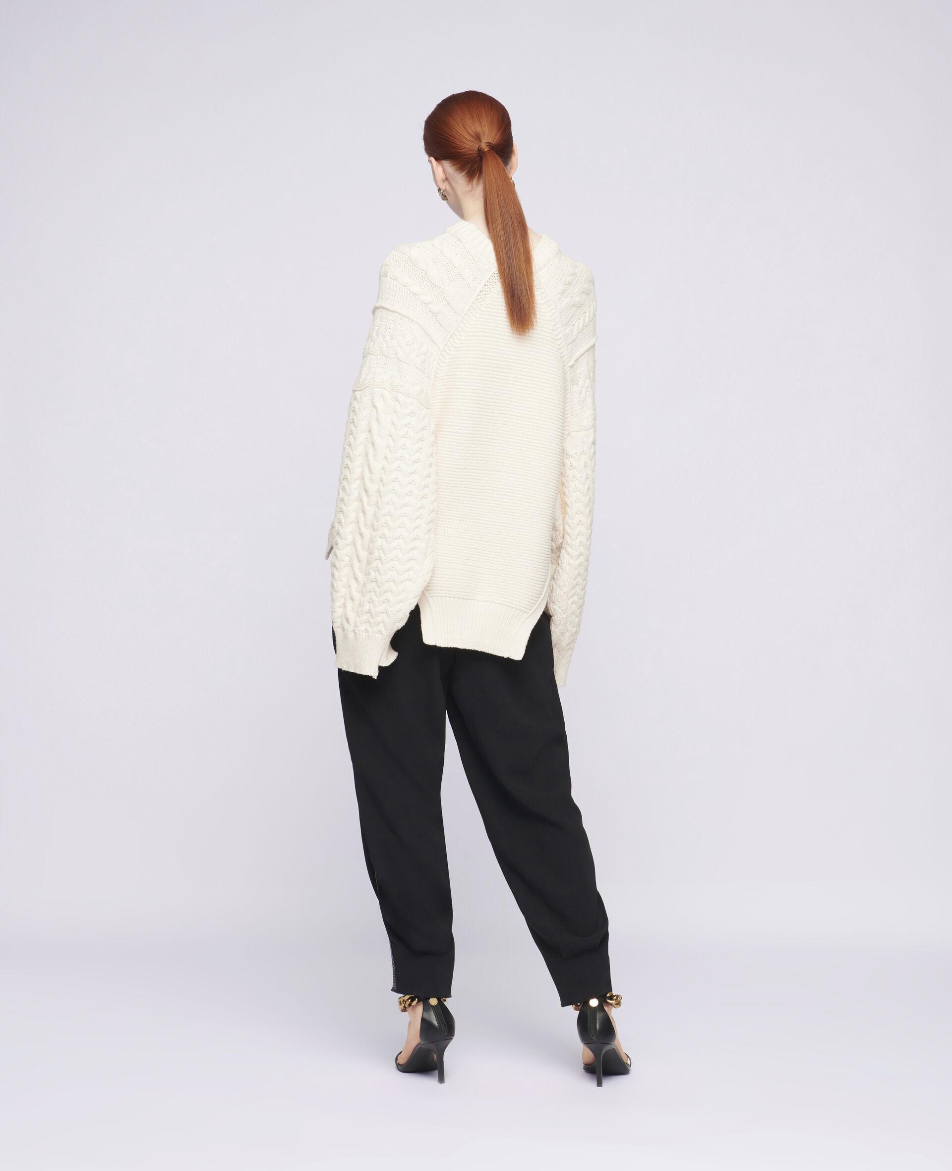 Übergroßer Pullover mit Aran-Muster-Weiß-large image number 2
