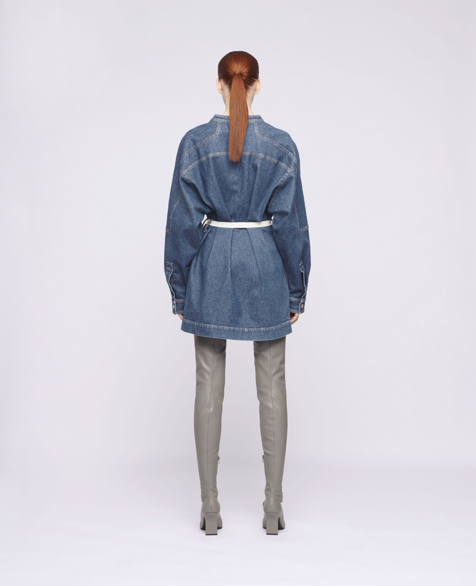 Denim Mini Dress-Blue-large image number 2