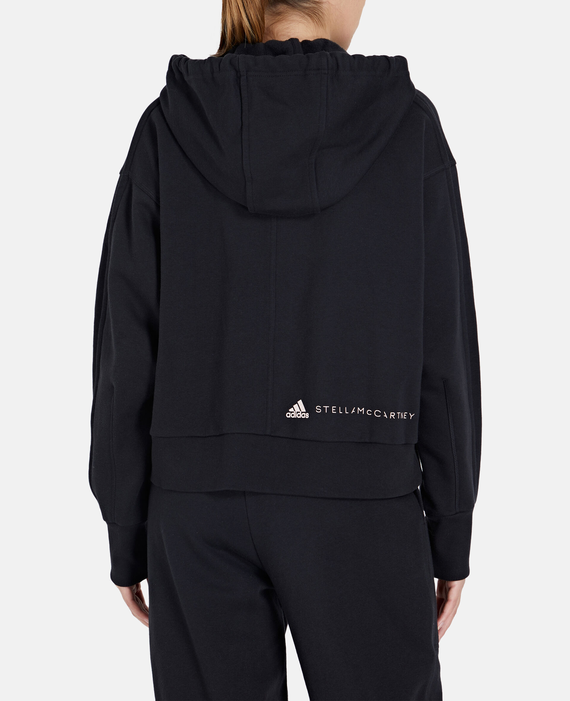 Black Full-zipper Cropped Hoodie-Black-large image number 2
