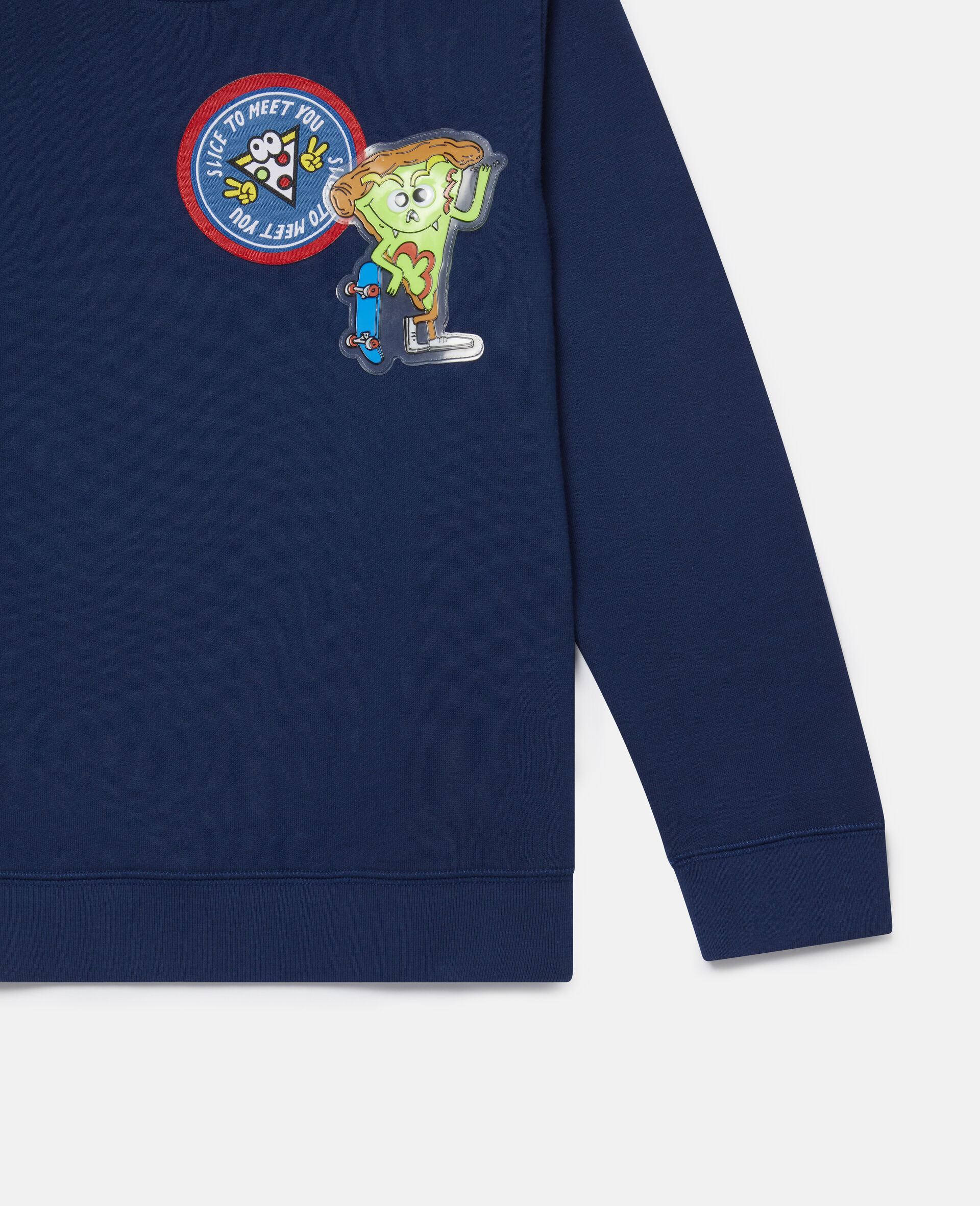 Fleece-Sweatshirt mit Pizza-Aufnähern-Blau-large image number 2