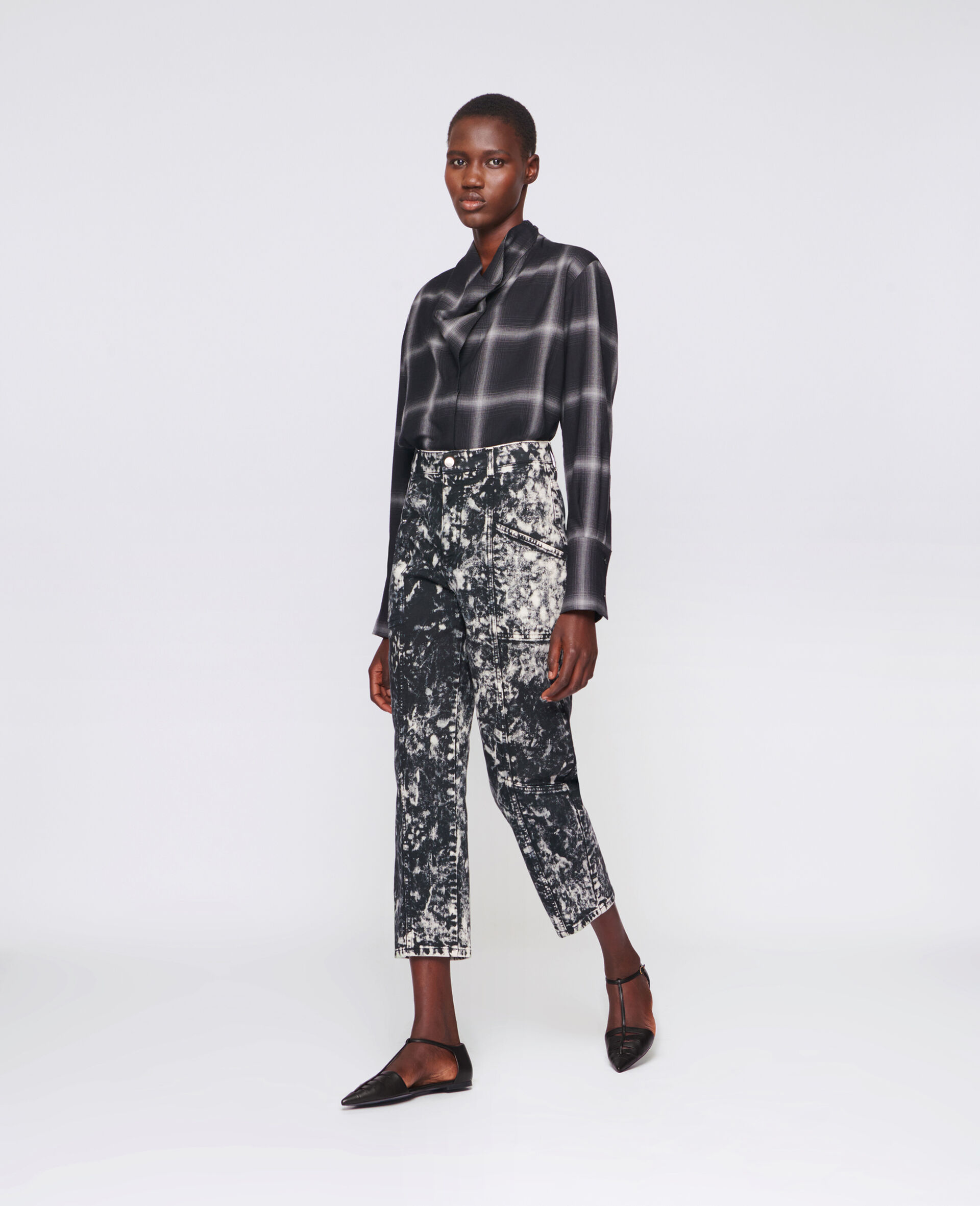 Cropped Denim Trousers-Black-large image number 1