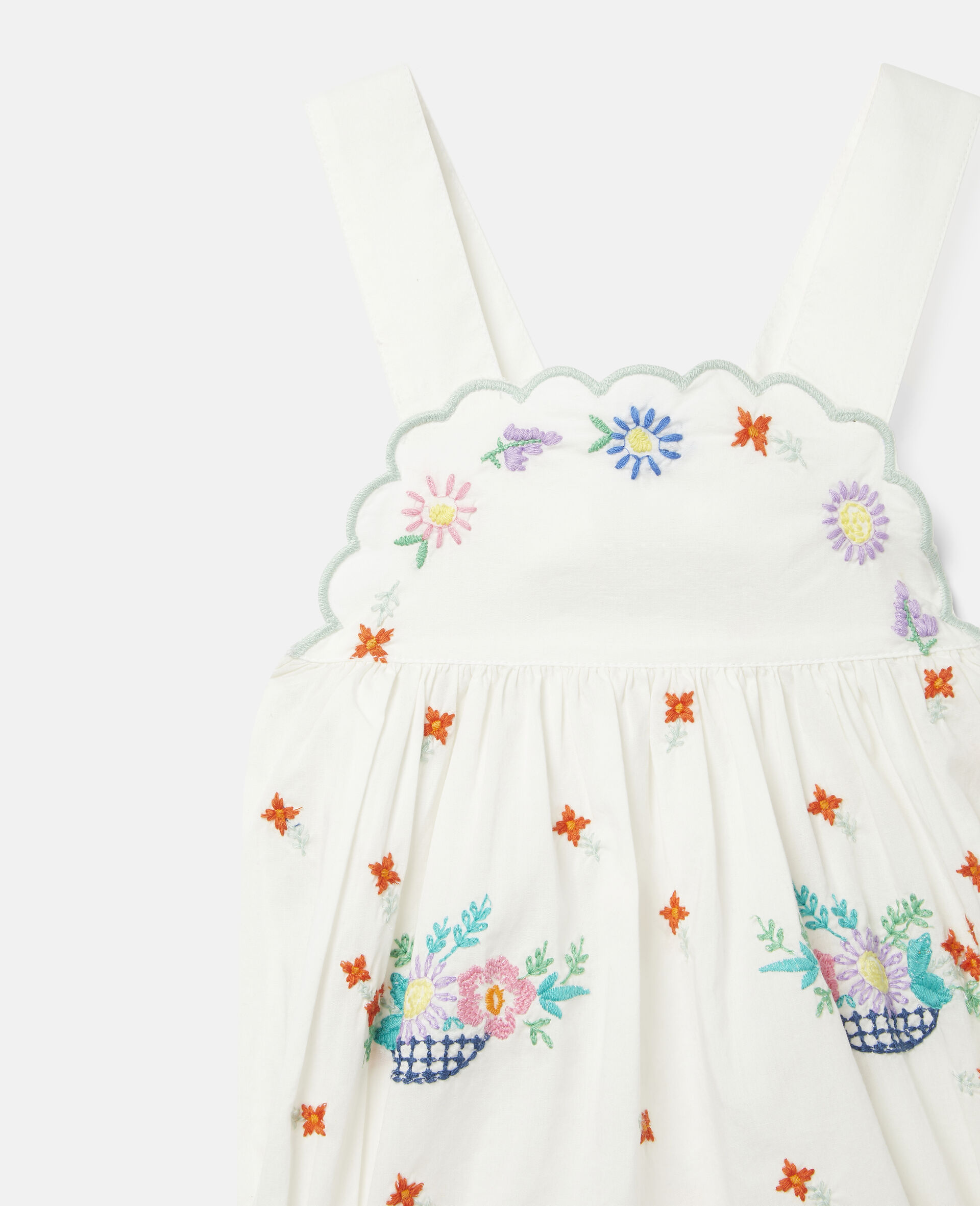 Embroidered Flowers Cotton Dungarees-White-large image number 2