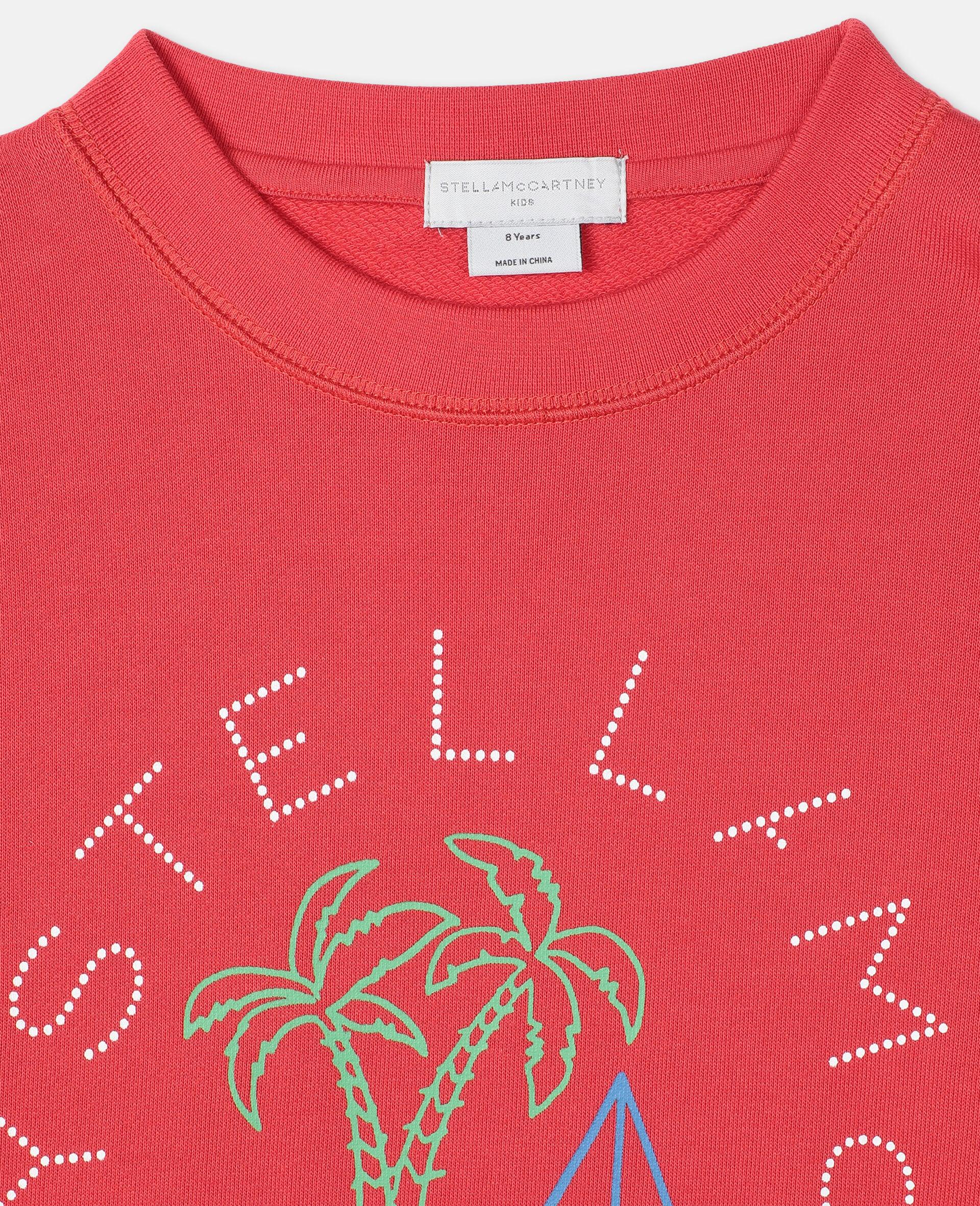 Oversize Logo Sailing Cotton Sweatshirt -Red-large image number 1