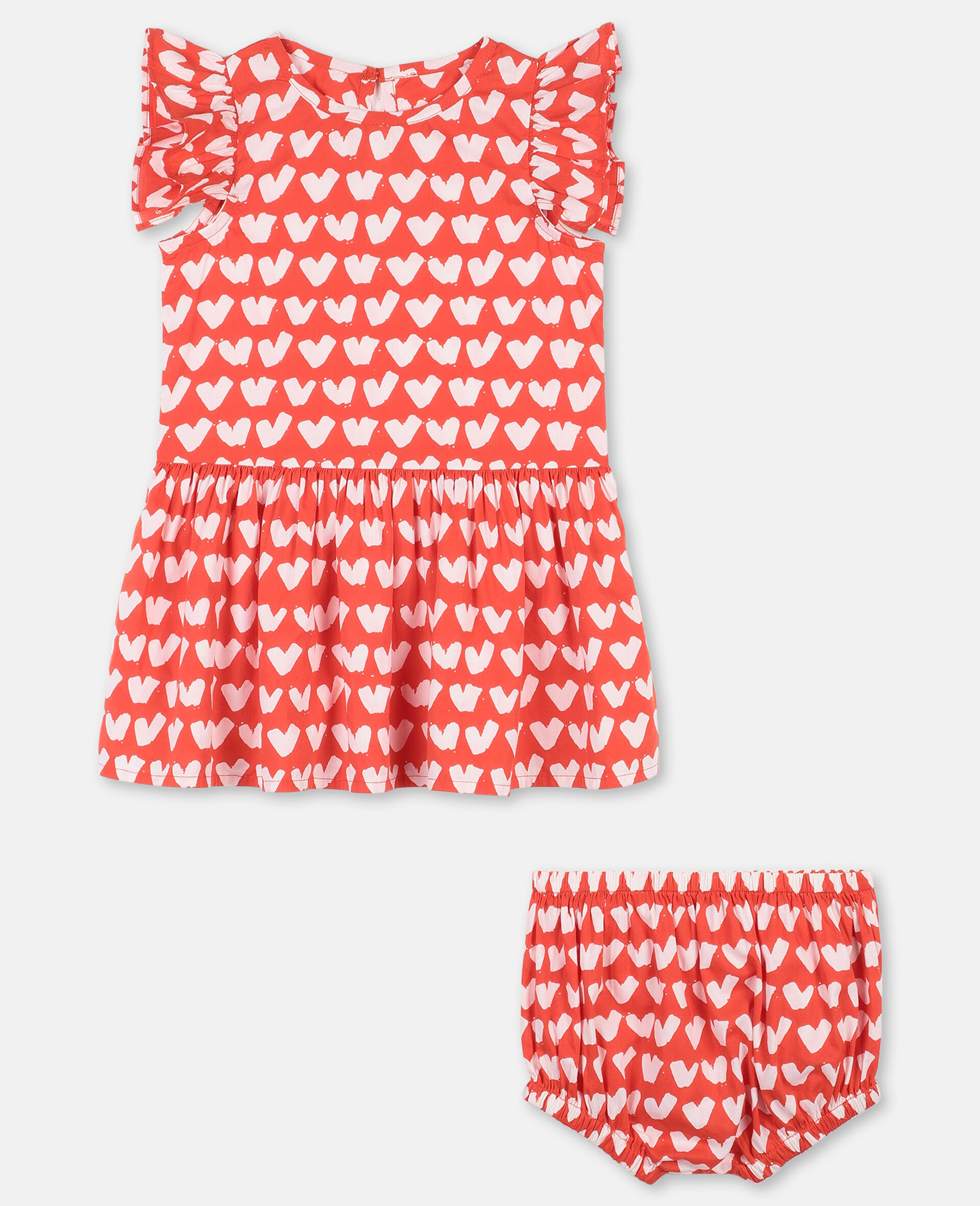 Hearts Cotton Dress -Red-large image number 0
