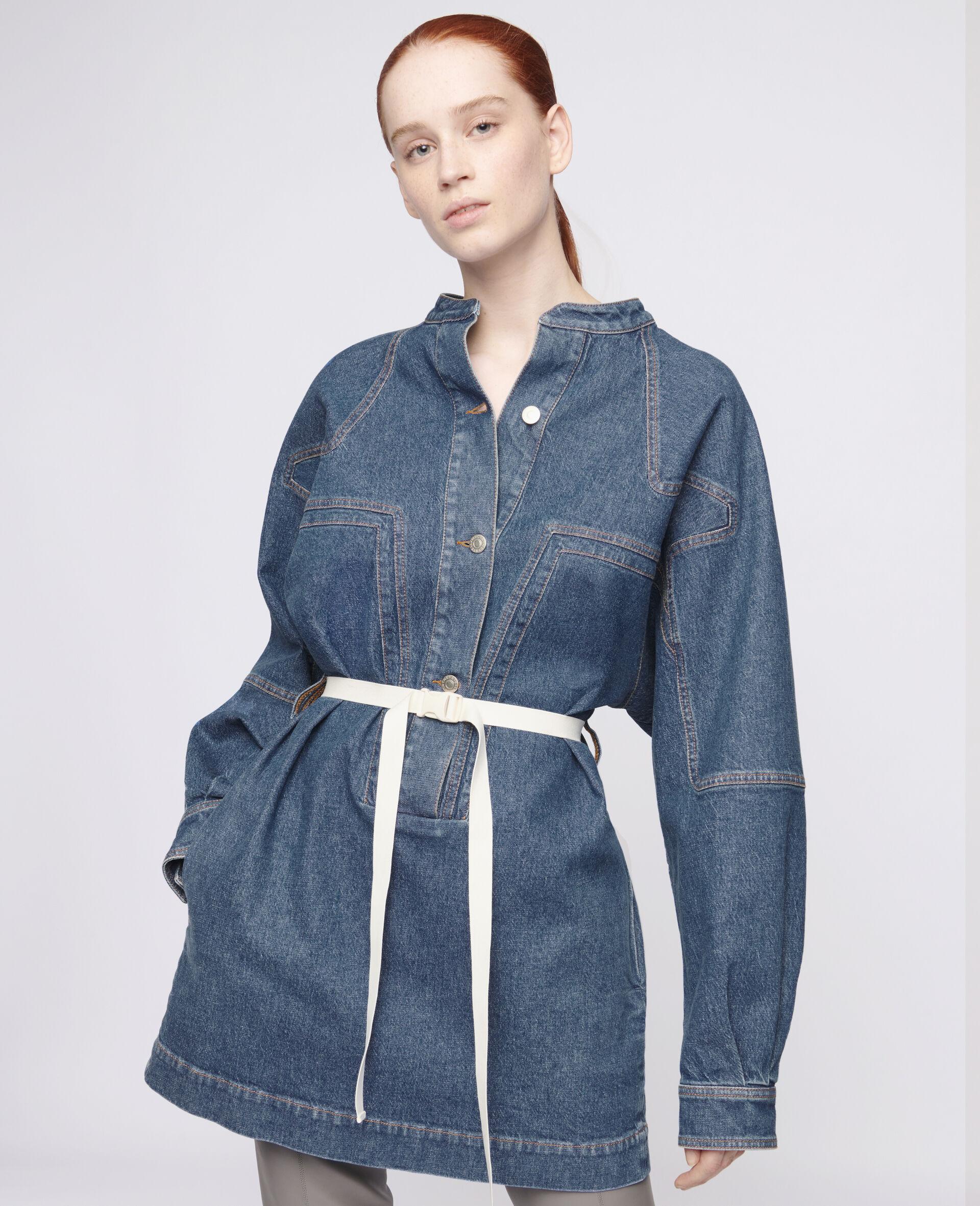 Denim Mini Dress-Blue-large image number 3