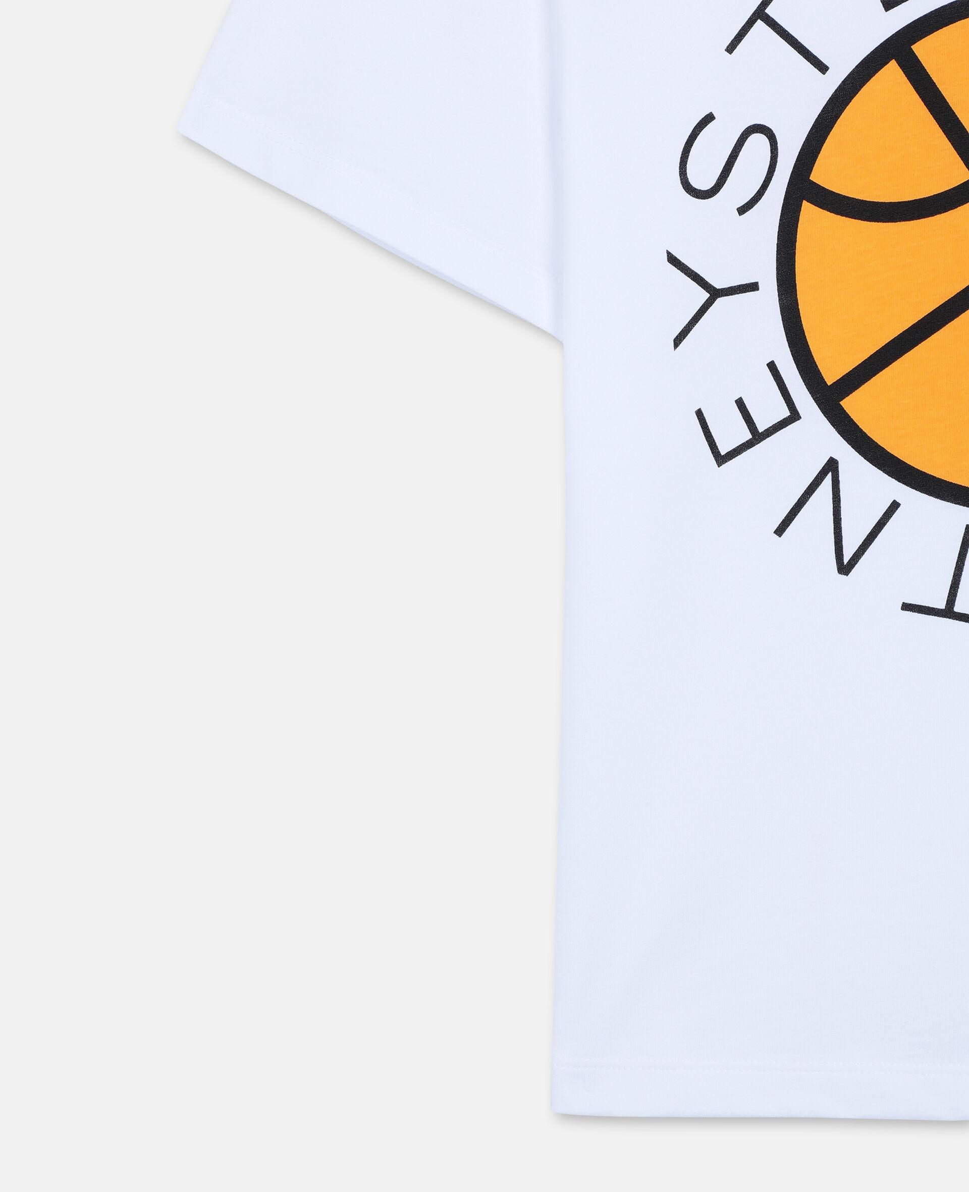 Oversize Basketball Logo Cotton T-shirt -White-large image number 2