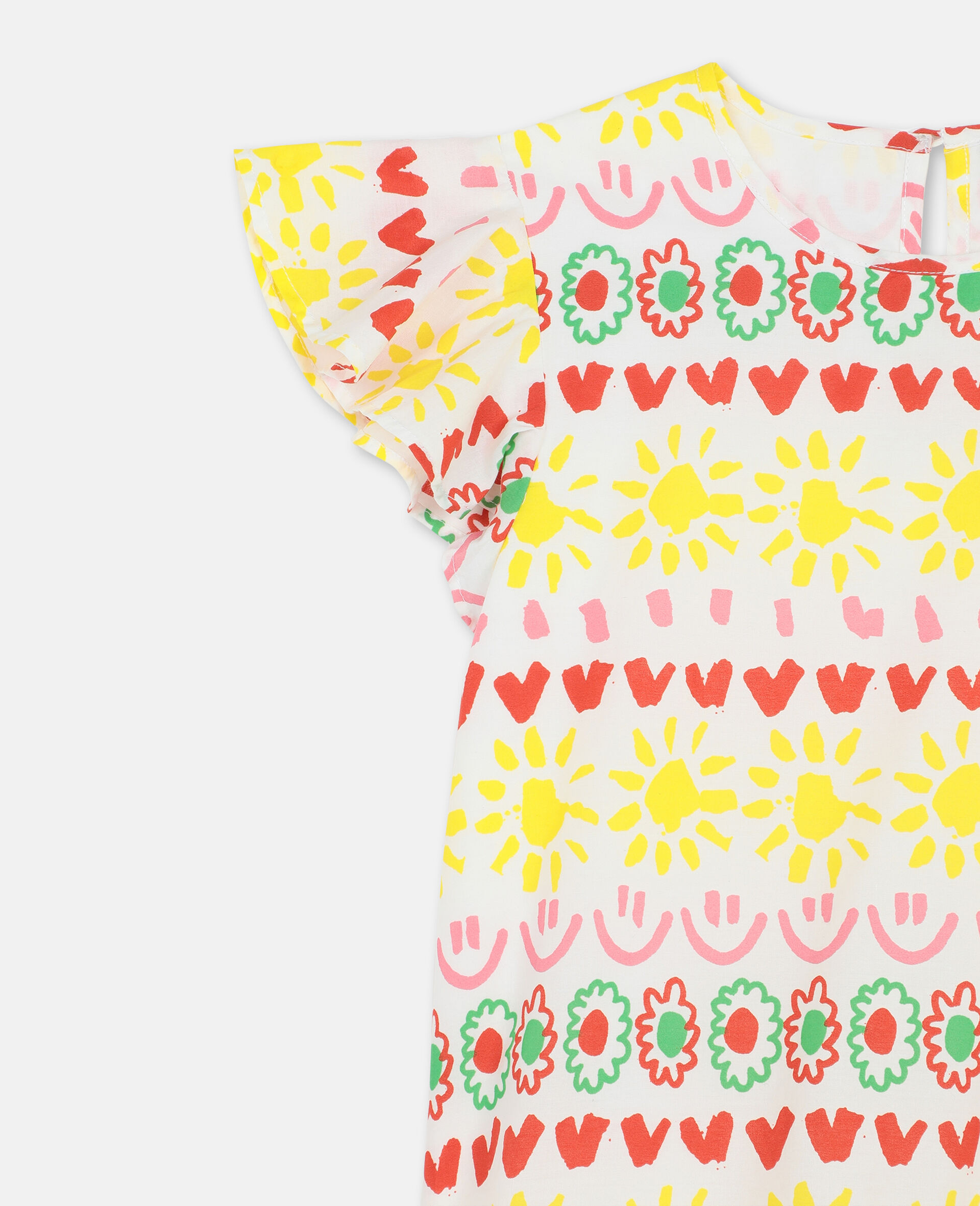 Happy Stripes Cotton Dress-Yellow-large image number 1
