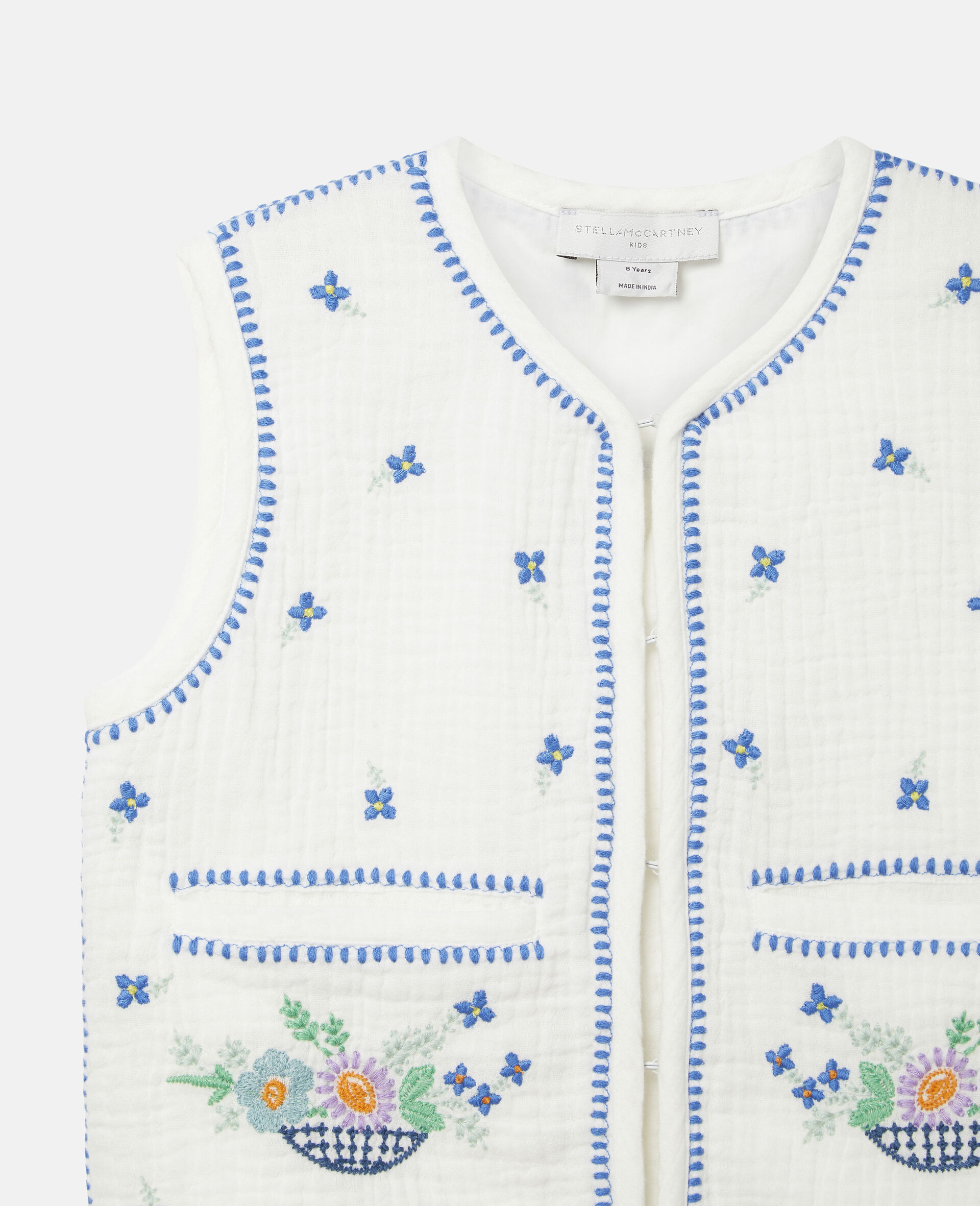 Embroidered Flowers Cotton Gilet-White-large image number 2