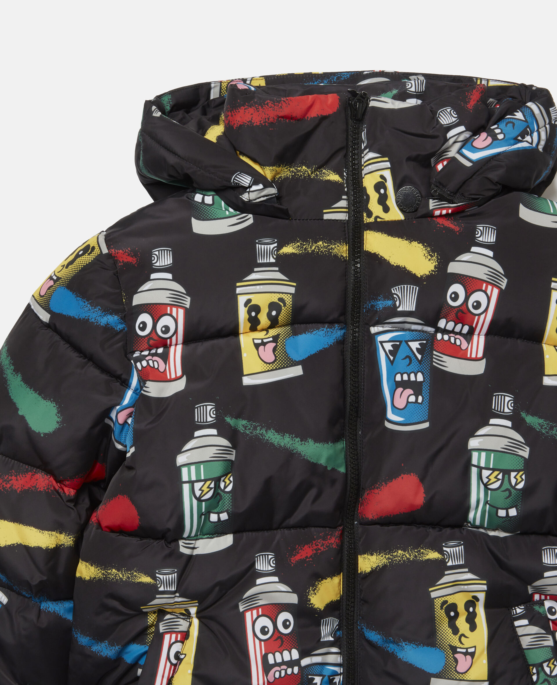 Painting Faces Puffer Jacket-Black-large image number 1