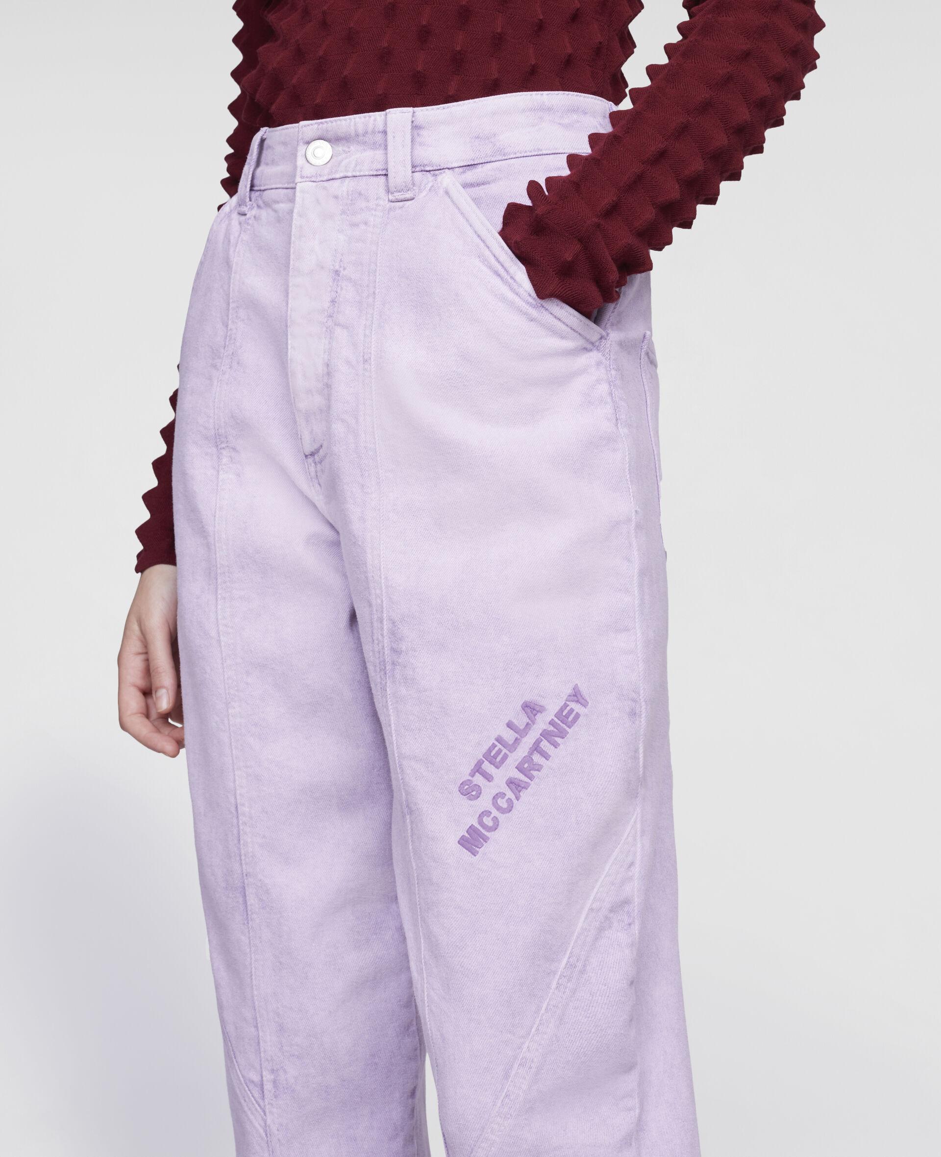 Cropped-Hose aus Denim-Purple-large image number 3