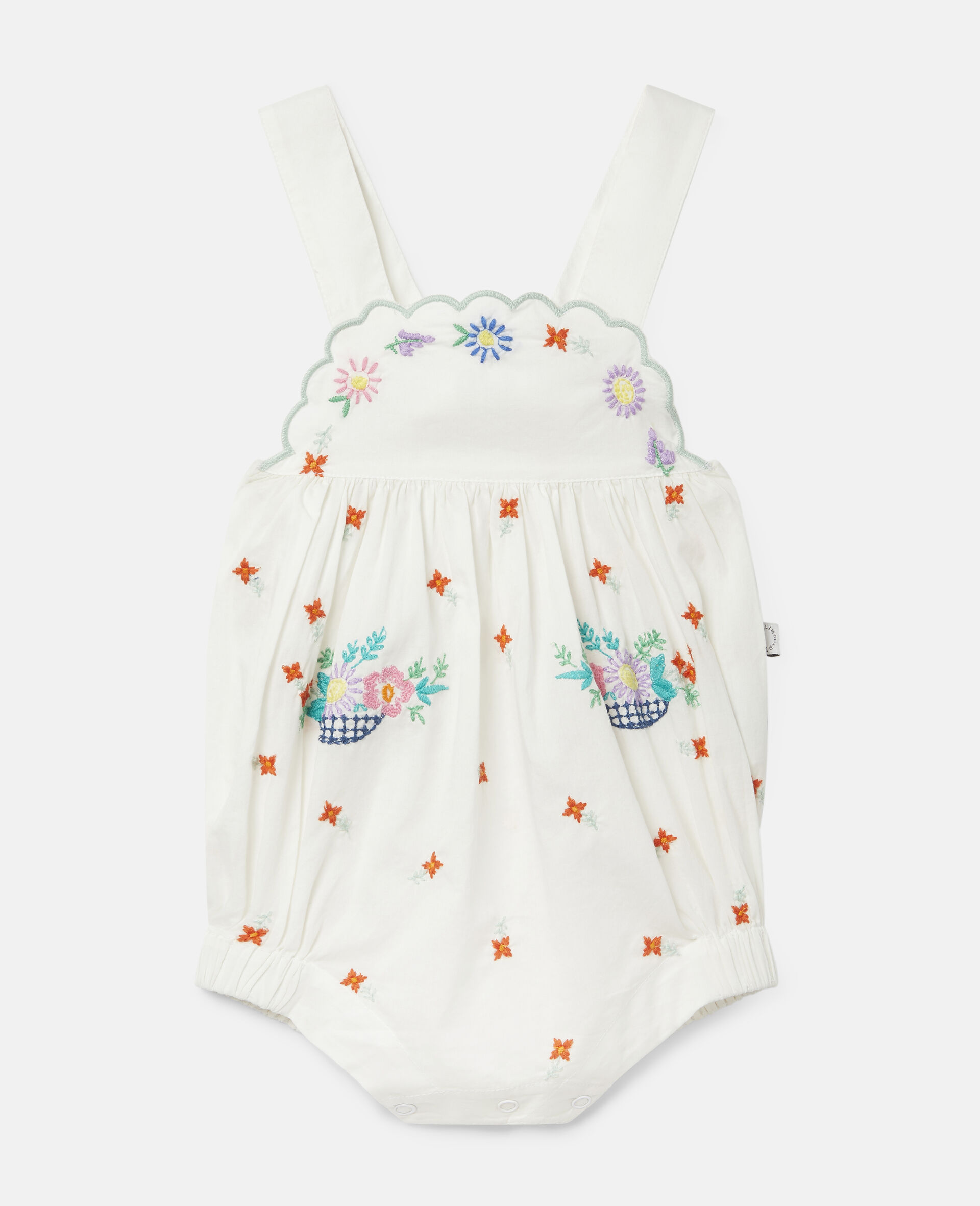 Embroidered Flowers Cotton Dungarees-White-large image number 0