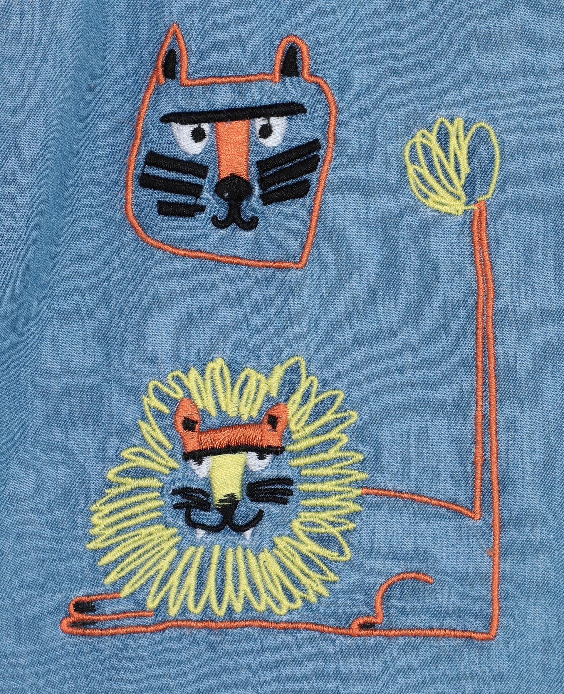 Short en chambray de coton à motif chats brodés -Bleu-large image number 1