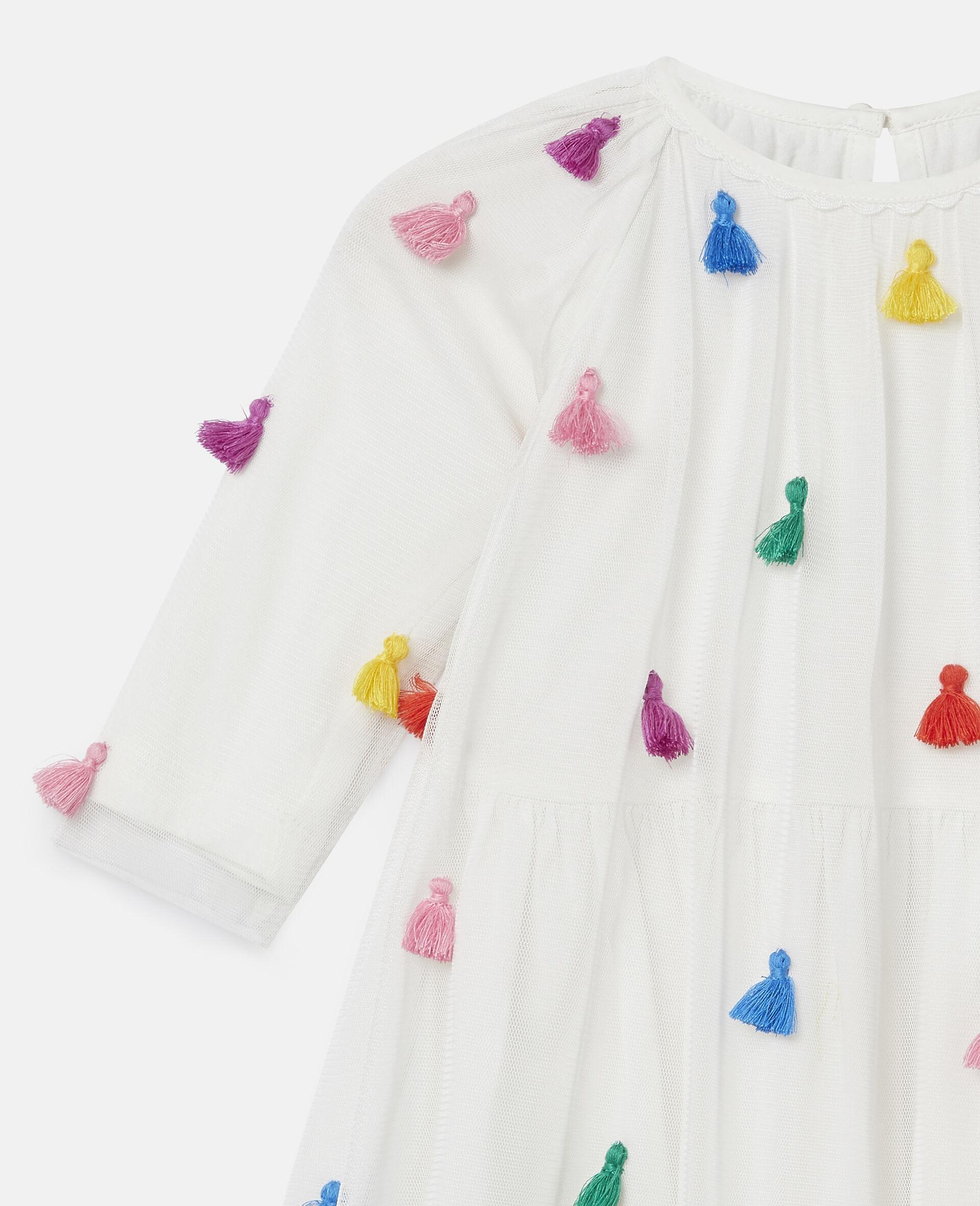 Tassels Tulle Dress-White-large image number 2