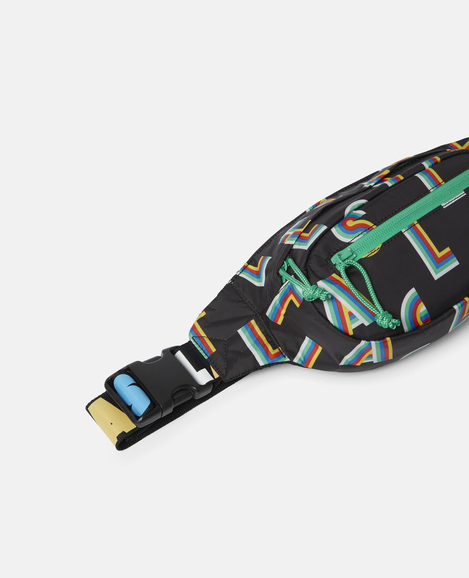 Striped Stella Lettering Sport Bum Bag-Black-large image number 2