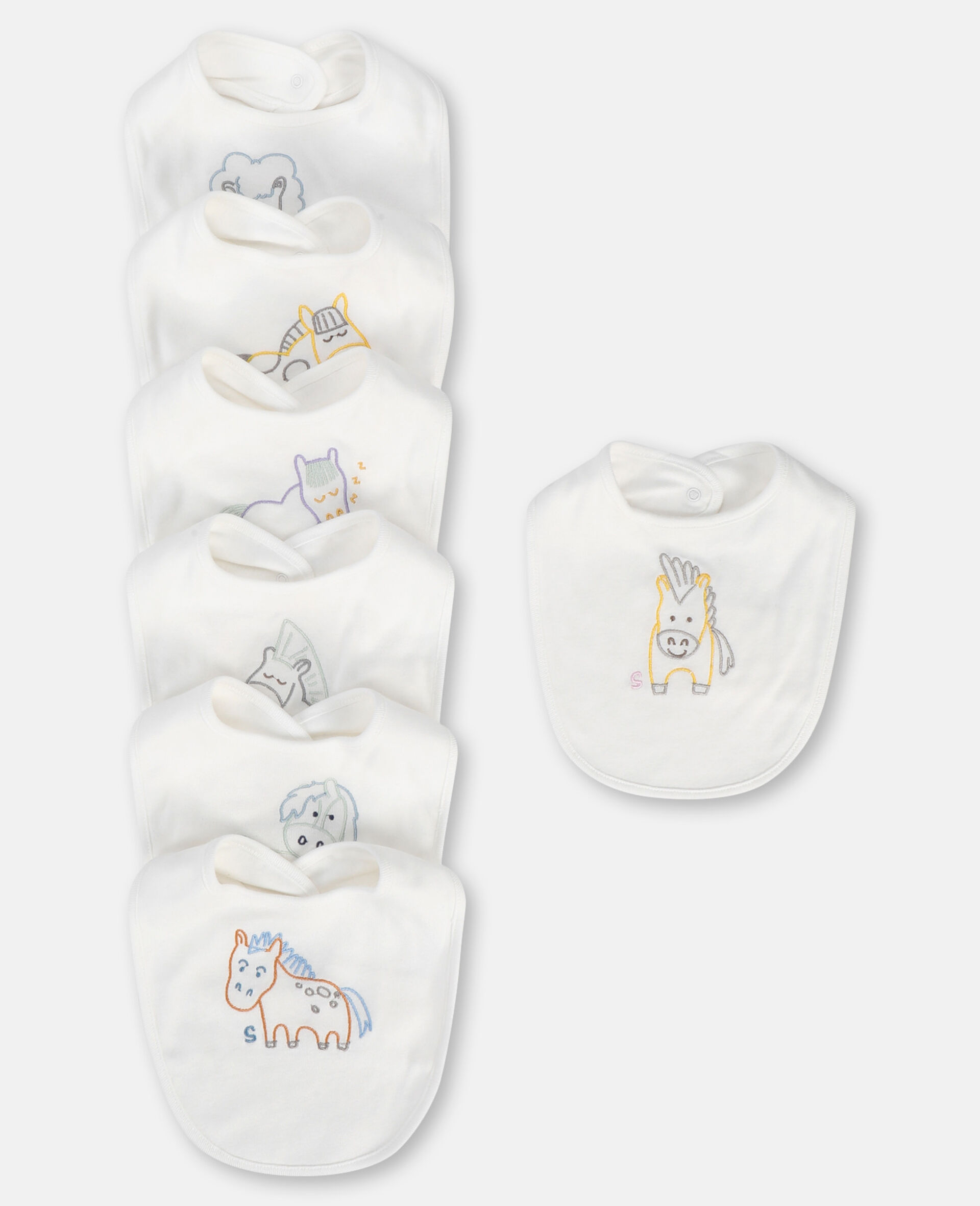 Embroidered Horses Jersey Rib Bibs Set-White-large image number 0