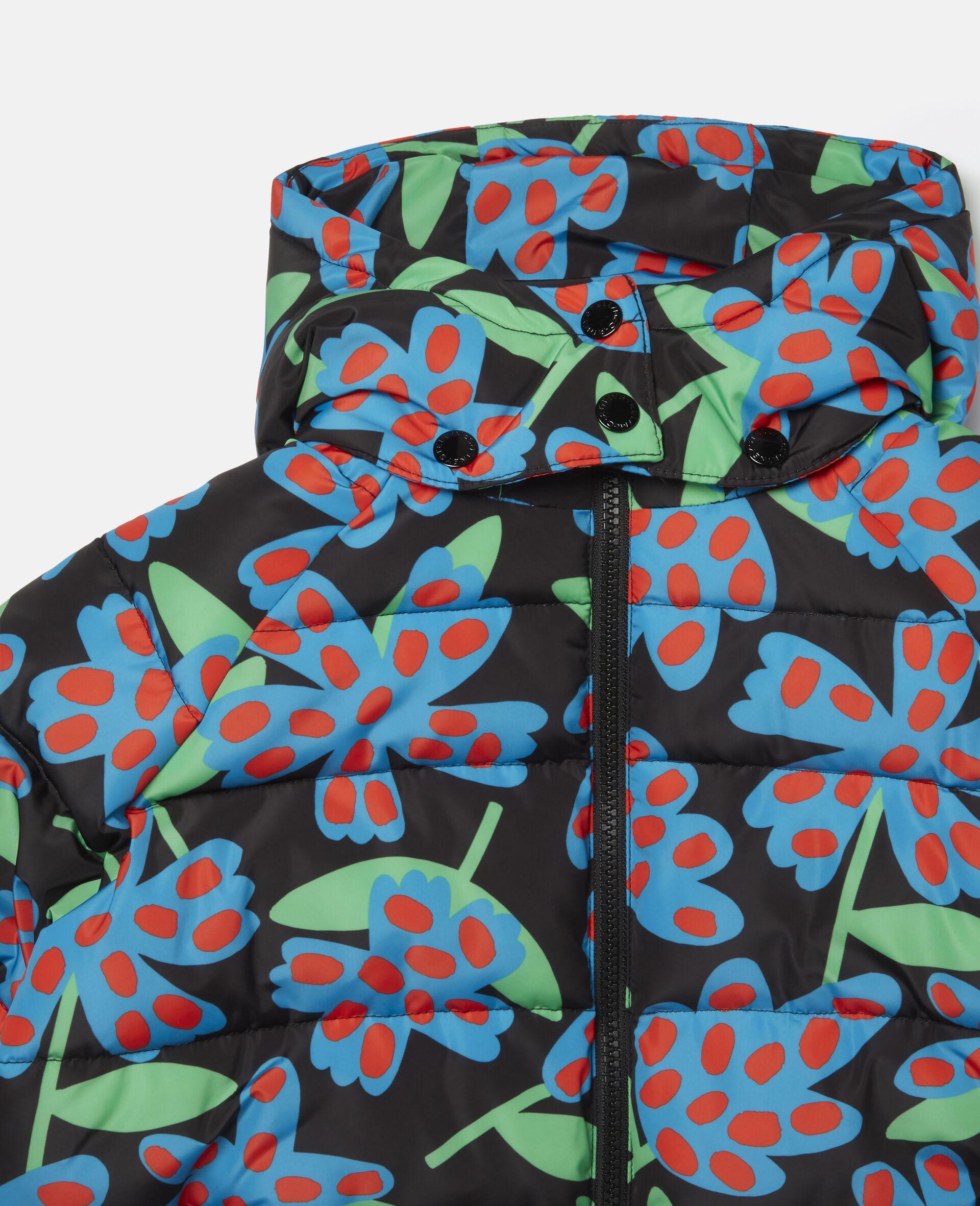 Doudoune à capuche motif fleurs à pois -Bleu-large image number 1