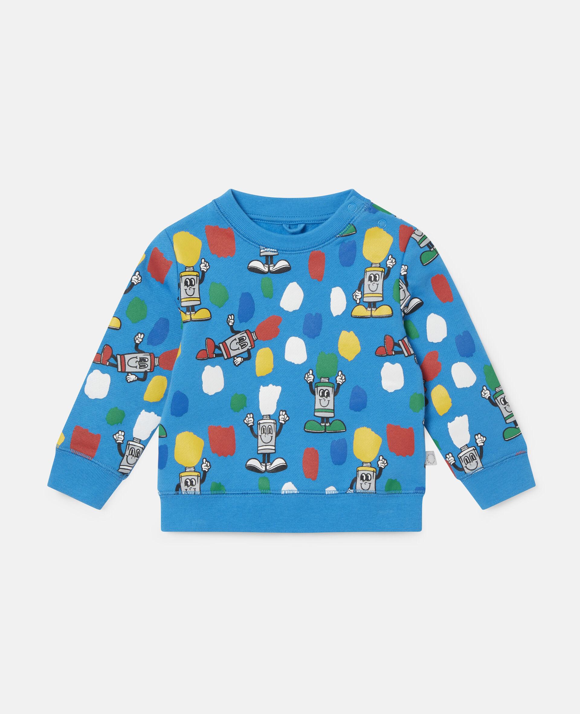 """Fleece-Sweatshirt mit """"Paint Tubes""""-Print-Blau-large image number 0"""