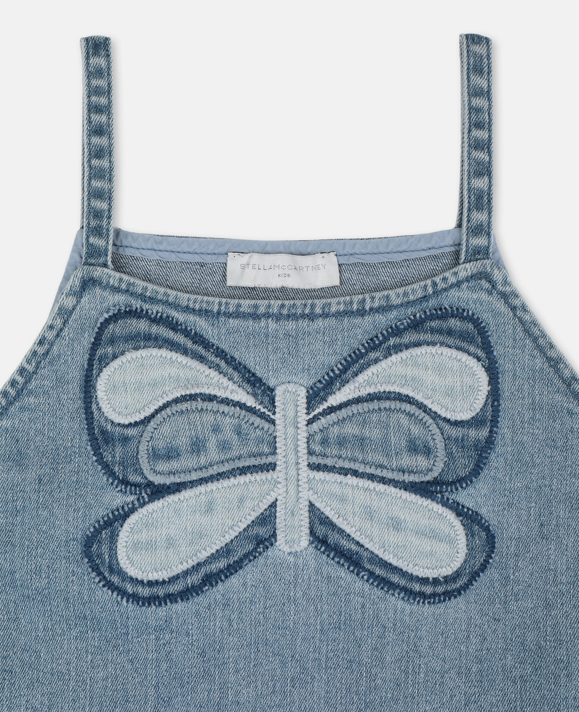 Butterfly Denim Top-Blue-large image number 1
