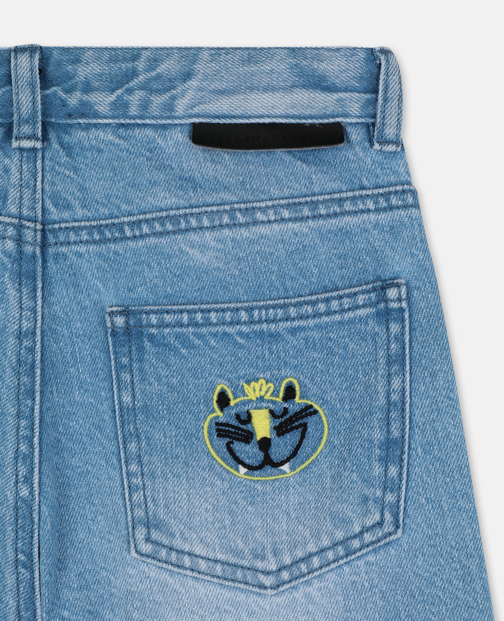 Embroidered Cats Boyfriend Denim Trousers-Blue-large image number 2