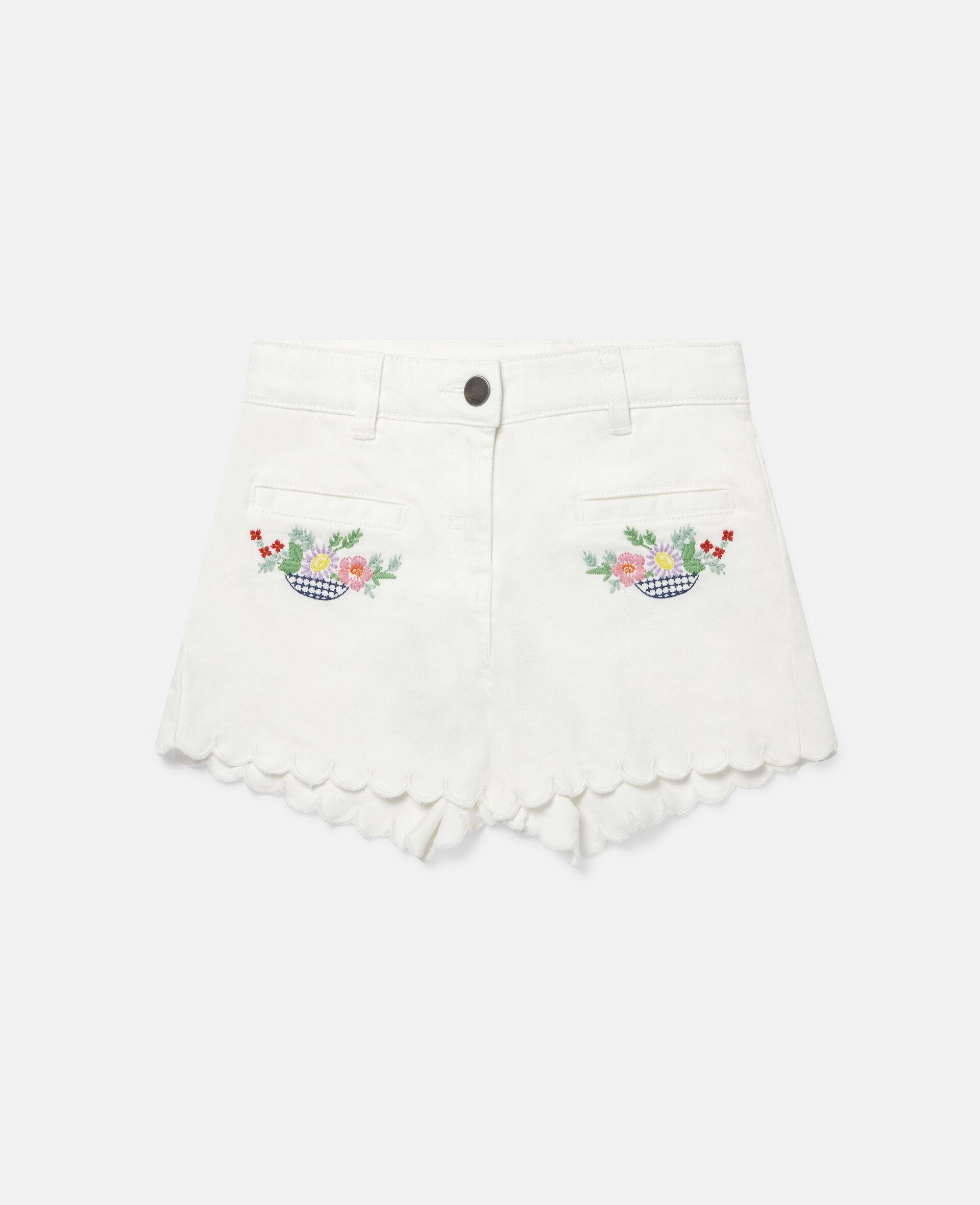 花朵刺绣牛仔短裤-白色-large image number 0