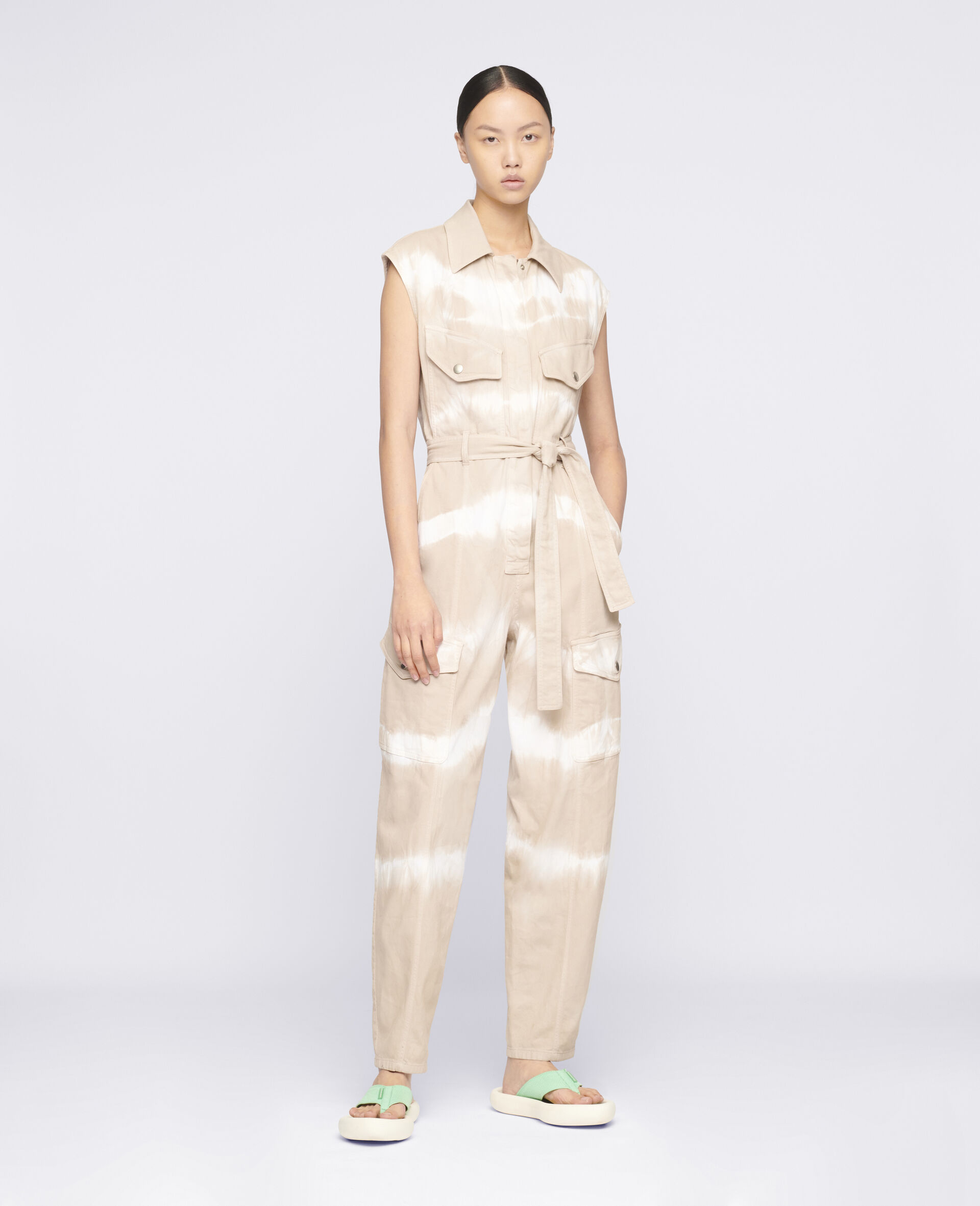 Tie-Dye Denim Jumpsuit-Beige-large image number 1