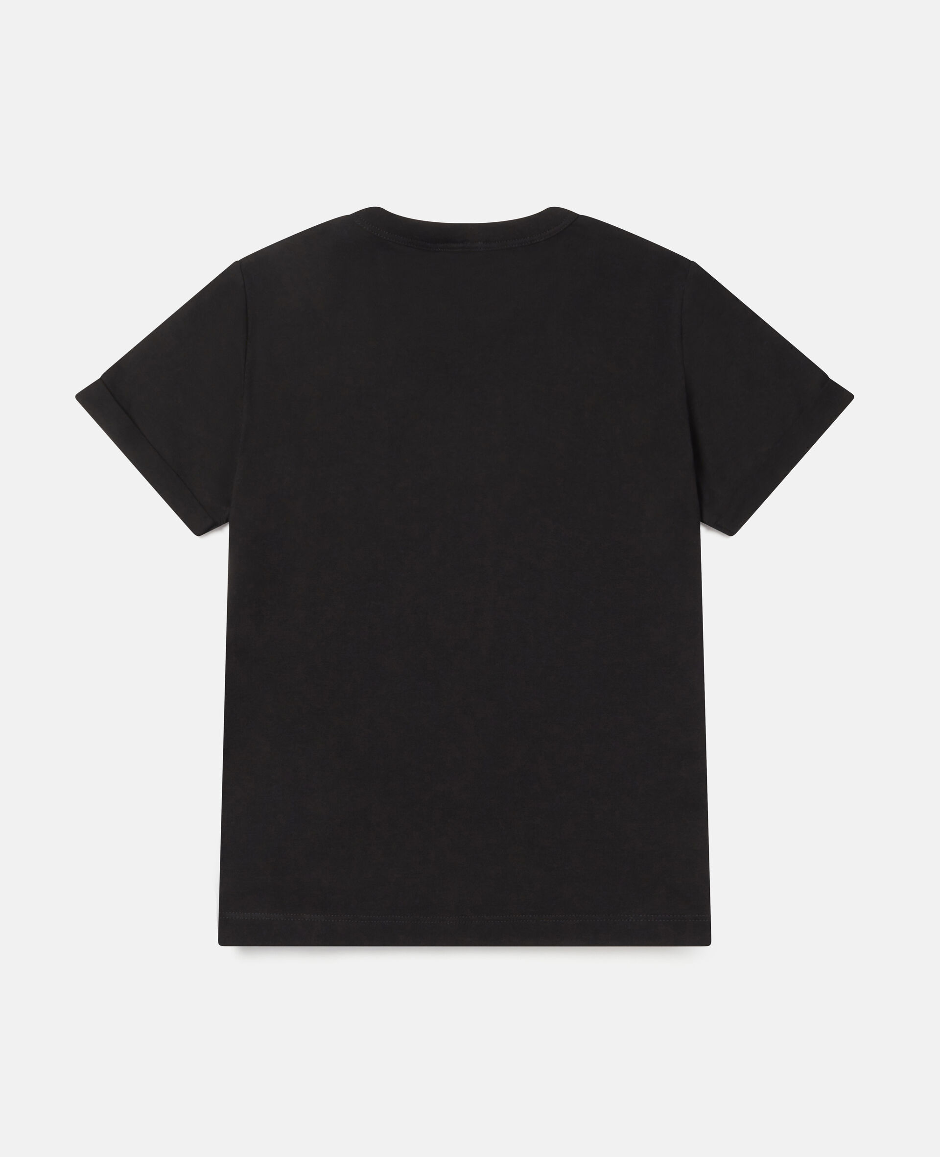 微笑爱心印花棉质 T 恤 -黑色-large image number 3