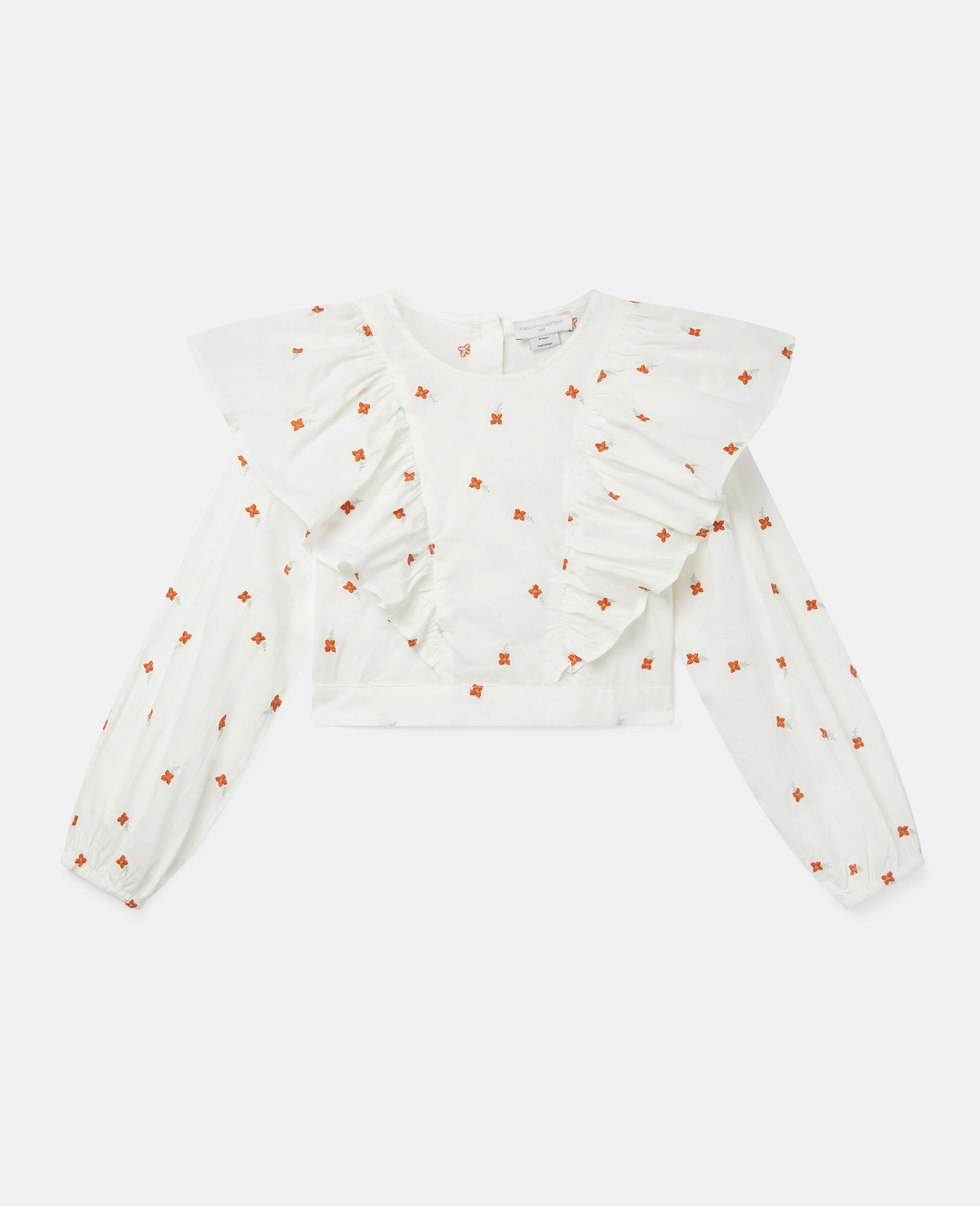 Embroidered Flowers Cotton Top-White-large image number 0