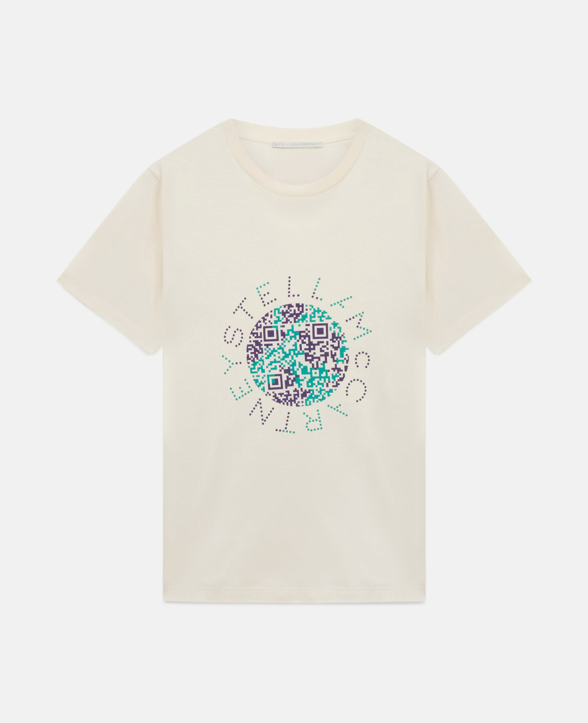 Baumwoll-T-Shirt mit Erde-Print-Weiß-large image number 0