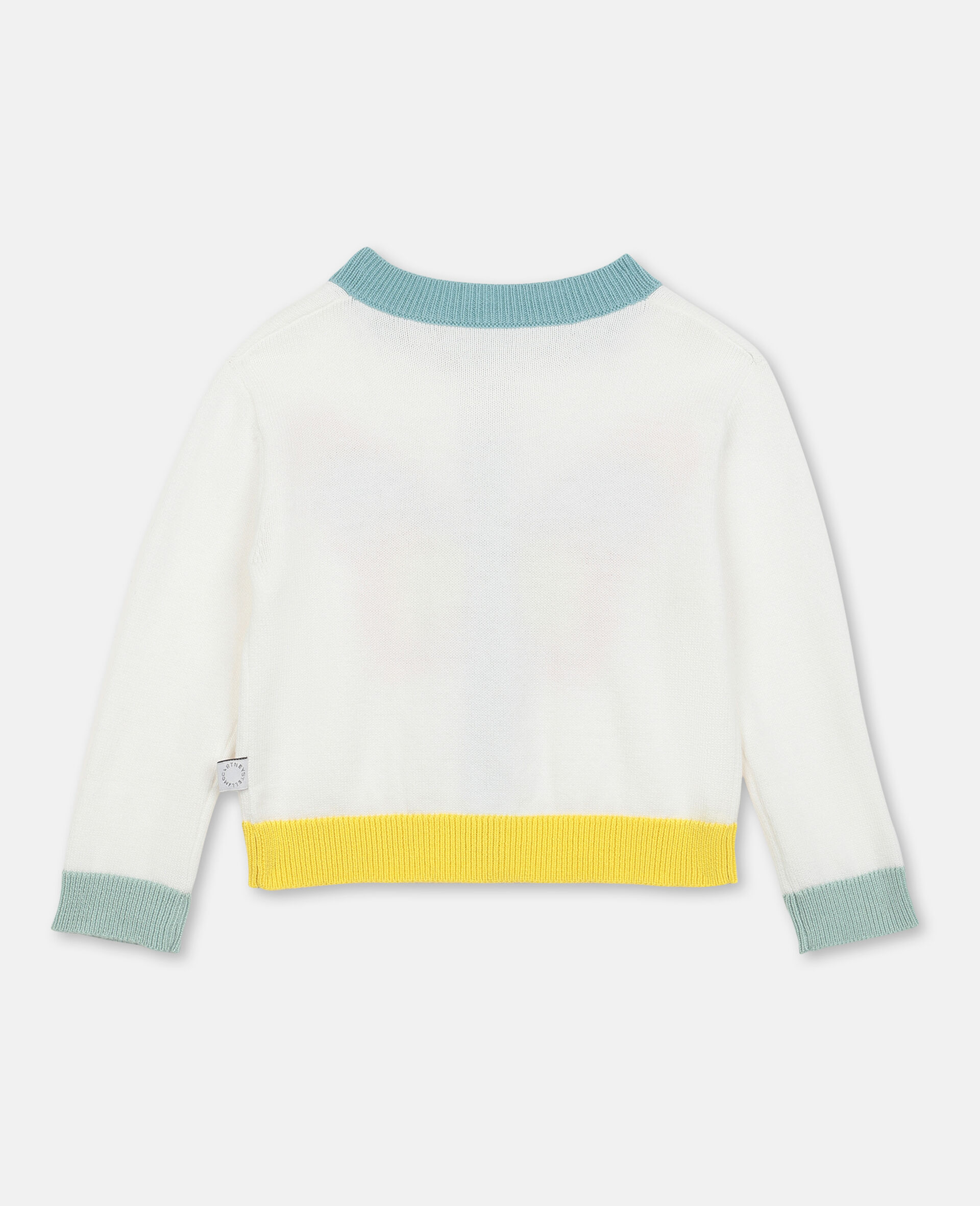 Butterfly Intarsia Knit Cardigan -White-large image number 3