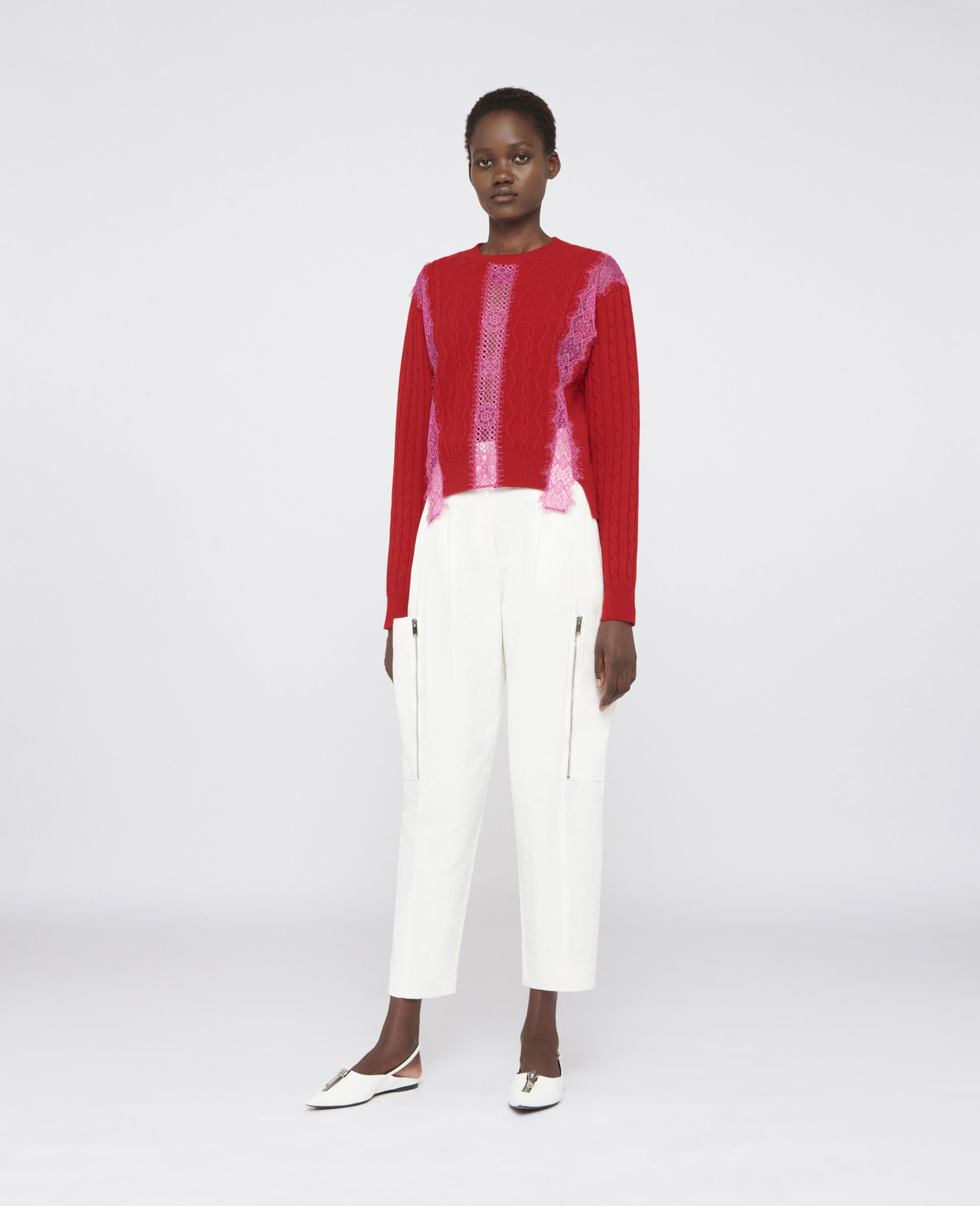Cropped Wool Sweater -Red-large image number 1
