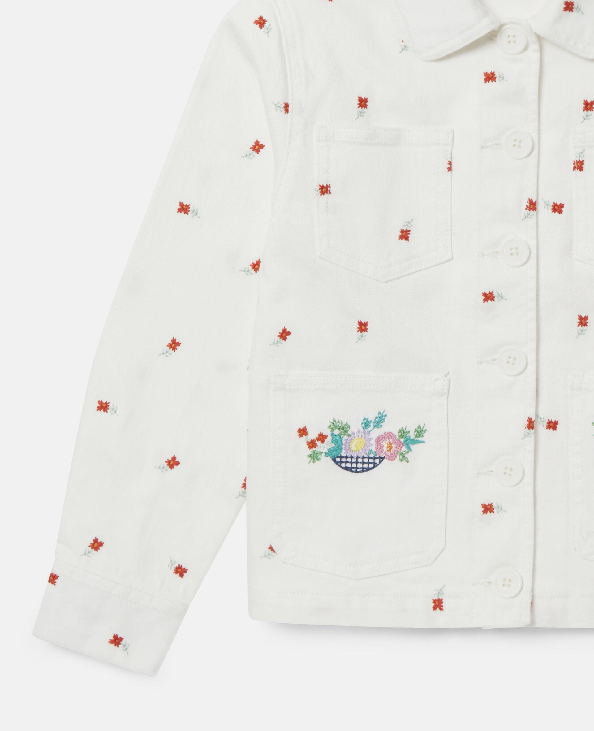 Embroidered Flowers Denim Jacket -White-large image number 2