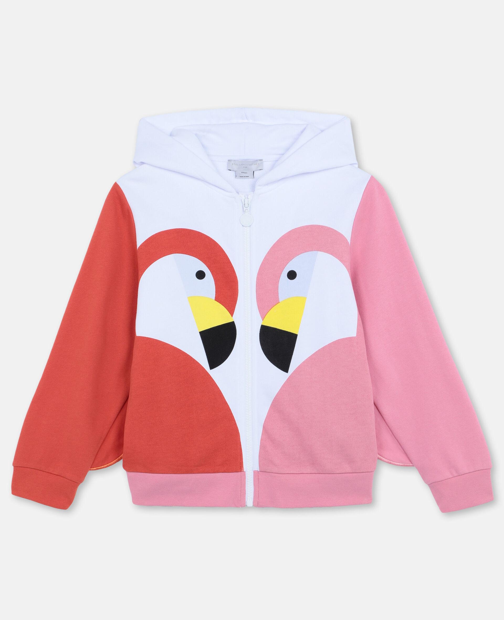 Flamingo Cotton Fleece Zip-Up Hoodie-White-large image number 0