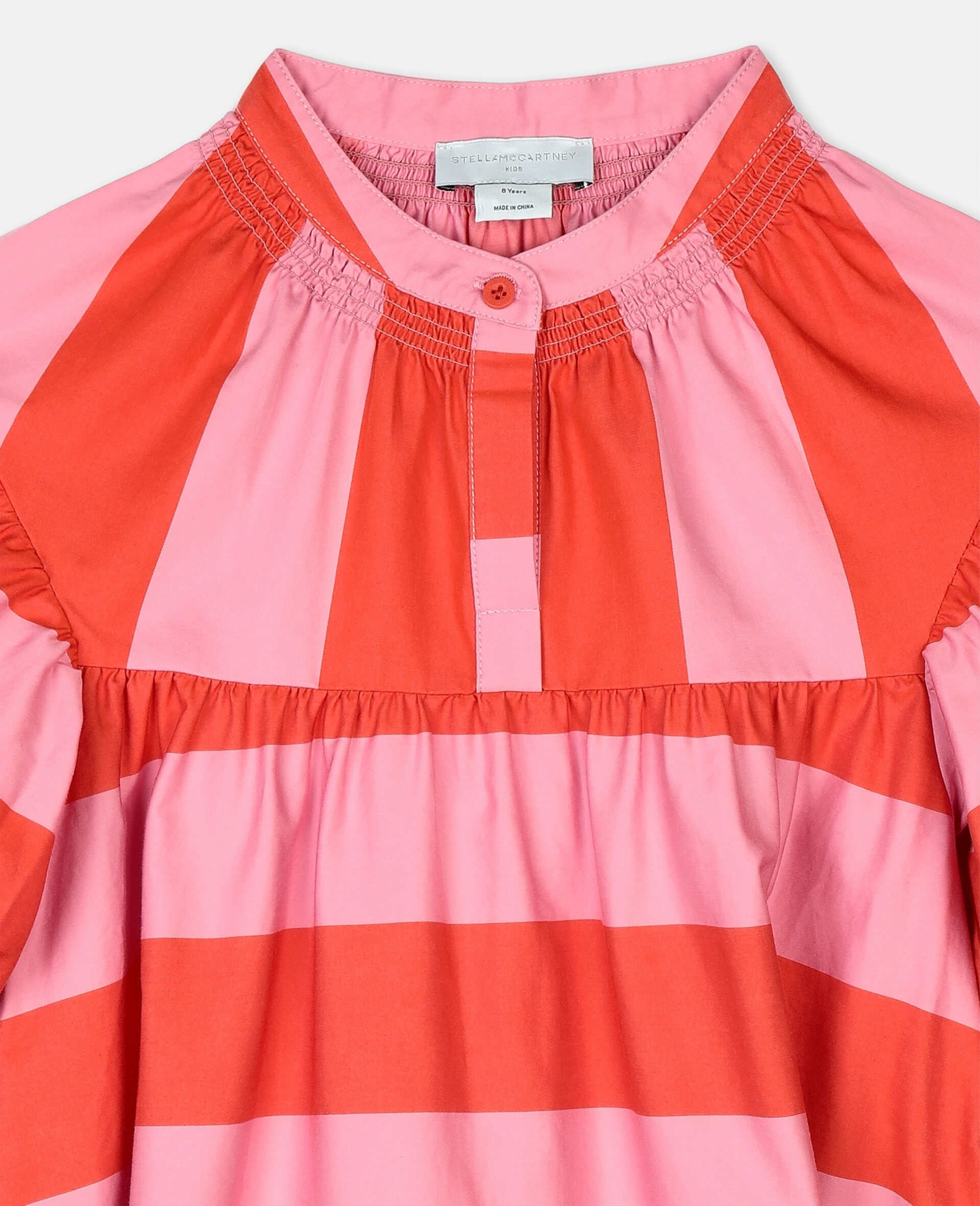 Striped Cotton Dress -Pink-large image number 1