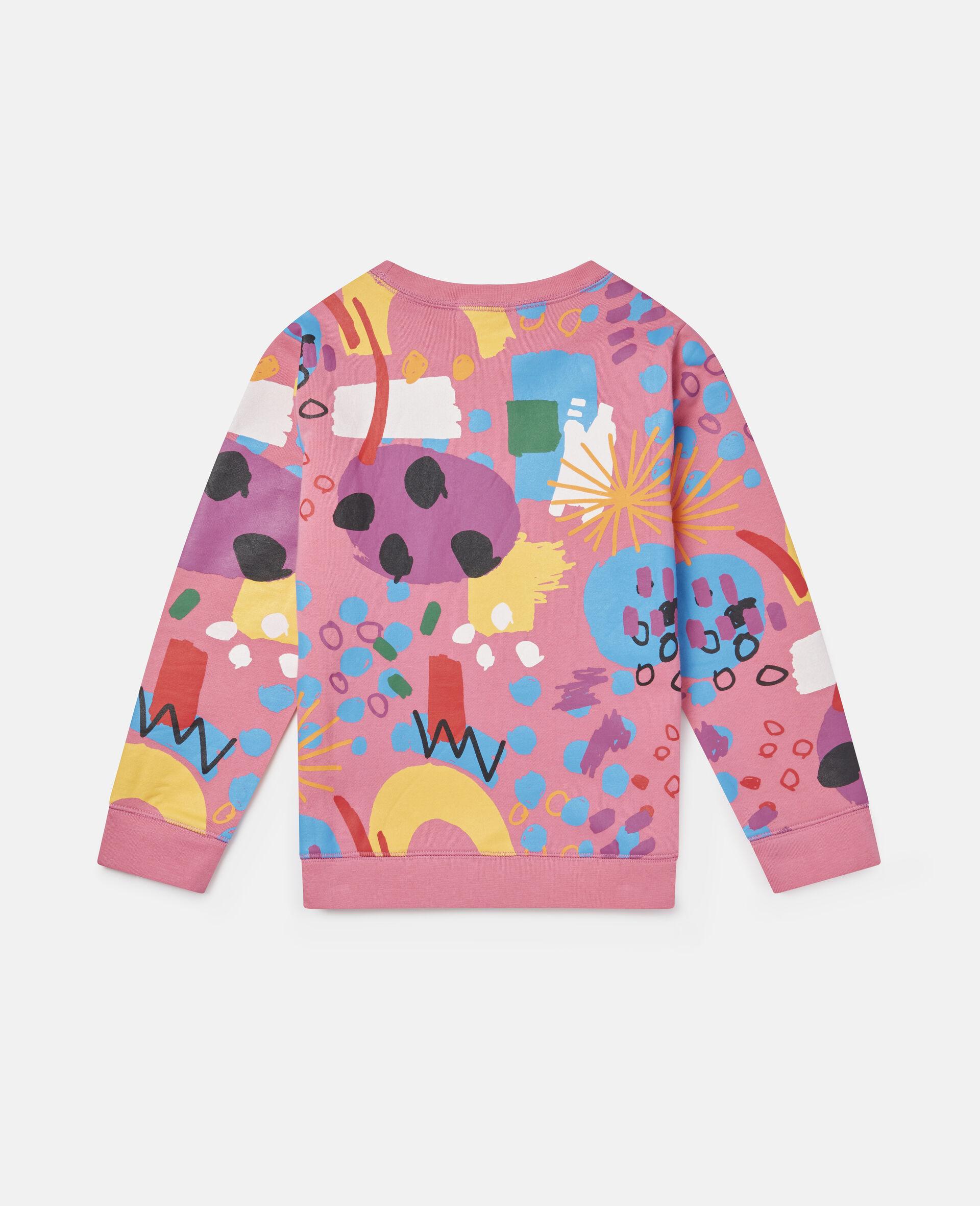 Sweatshirt aus Baumwollfleece mit Malerei-Print -Rose-large image number 3