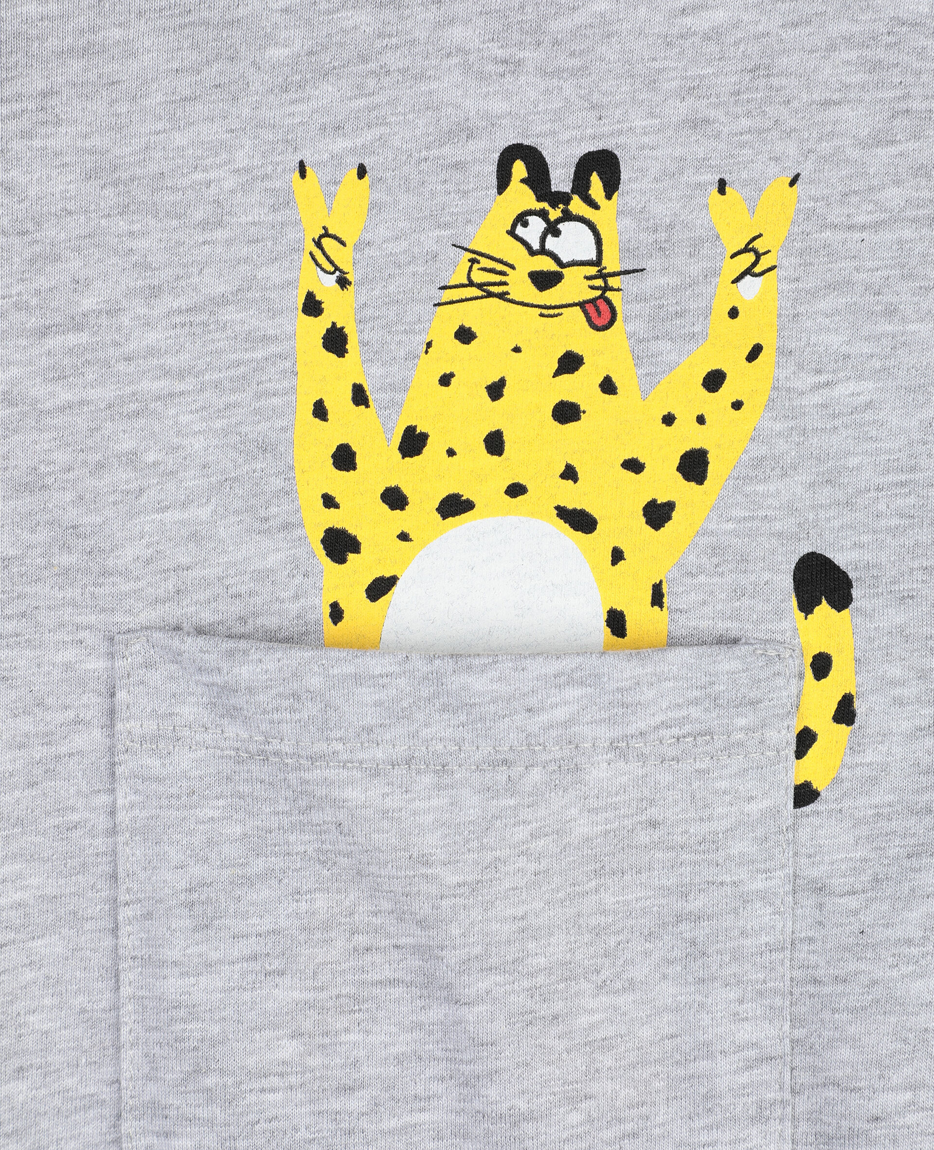 Cheetah Cotton T-shirt-Grey-large image number 1
