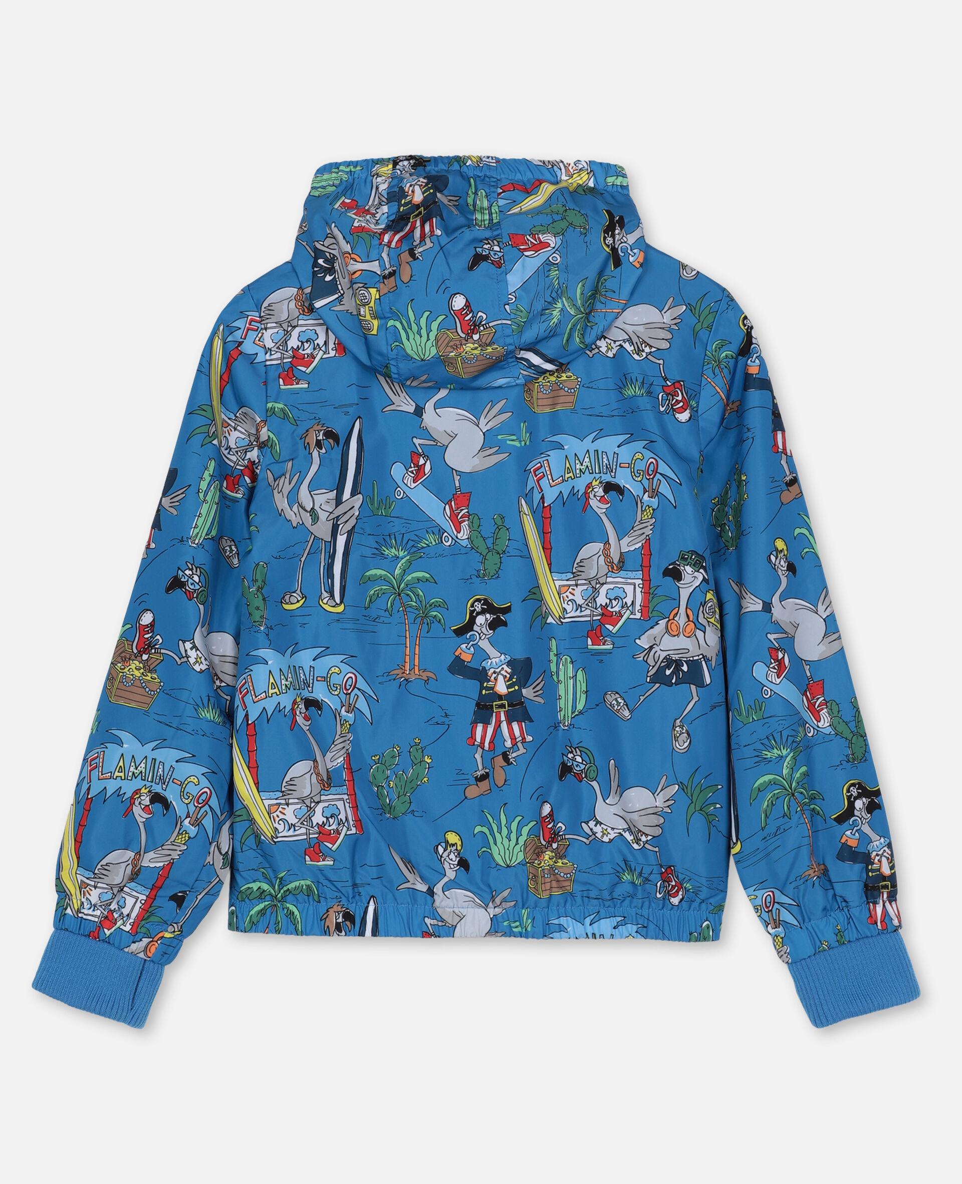 Jacke mit Flamingo-Land-Print -Blau-large image number 3