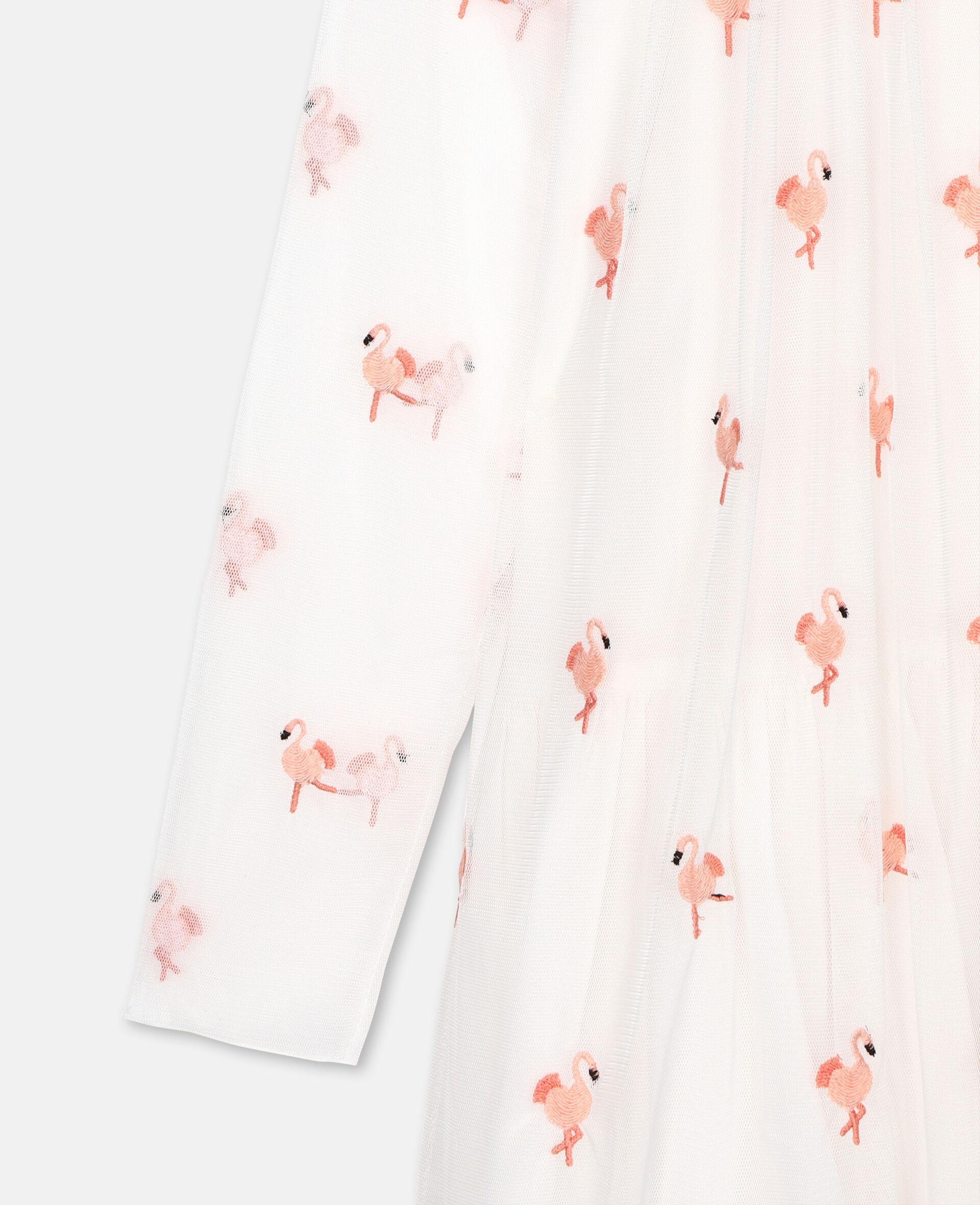 Flamingo刺绣天绢网衣裙-白色-large image number 1