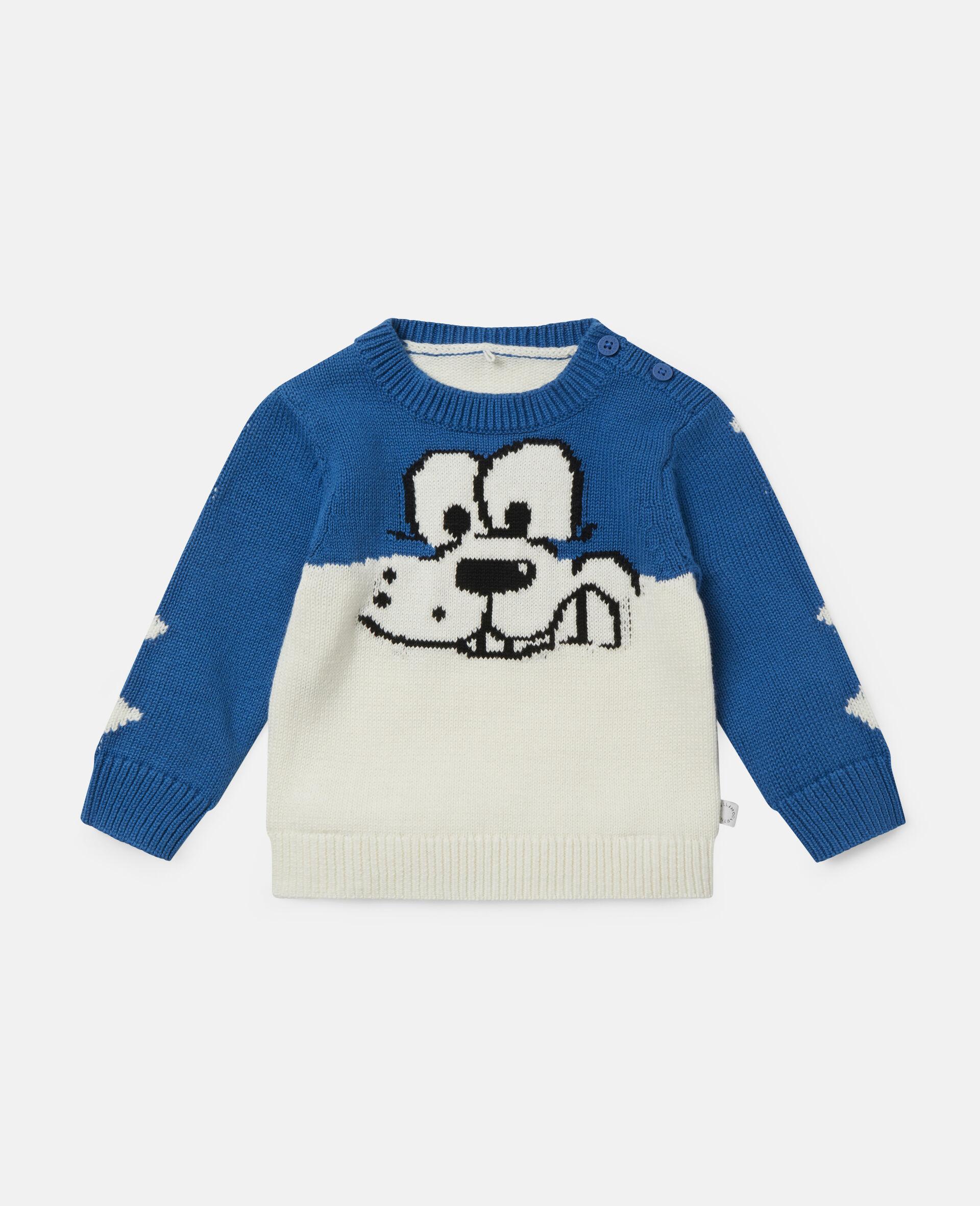 Doodle Dog Knit Intarsia Sweater-White-large image number 0