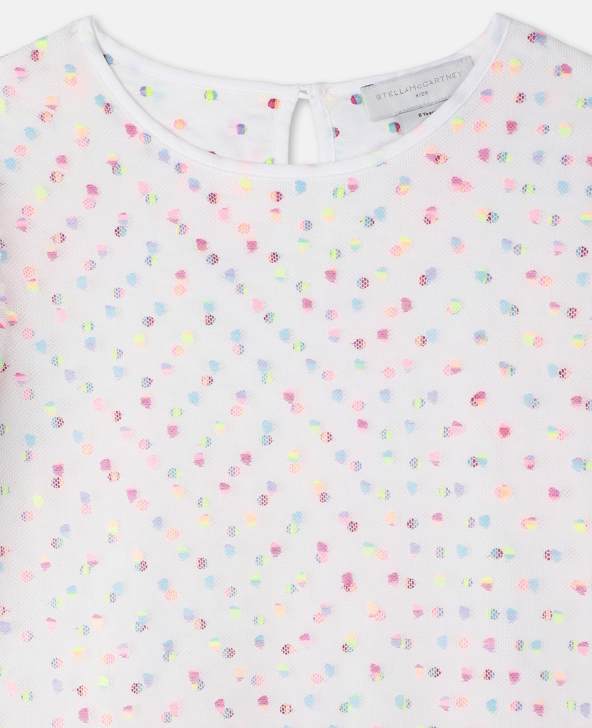刺绣波点绢网连衣裙 -Multicolored-large image number 2