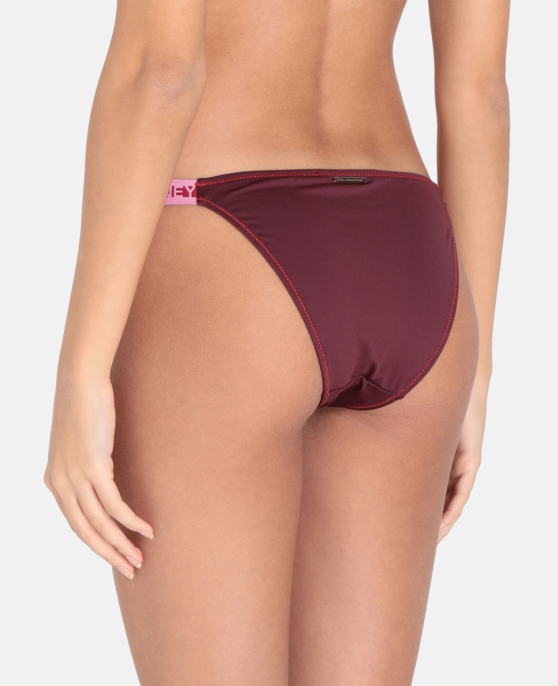 Logo Tape Low-Rise Bikini Bottoms-Burgundy-large image number 2
