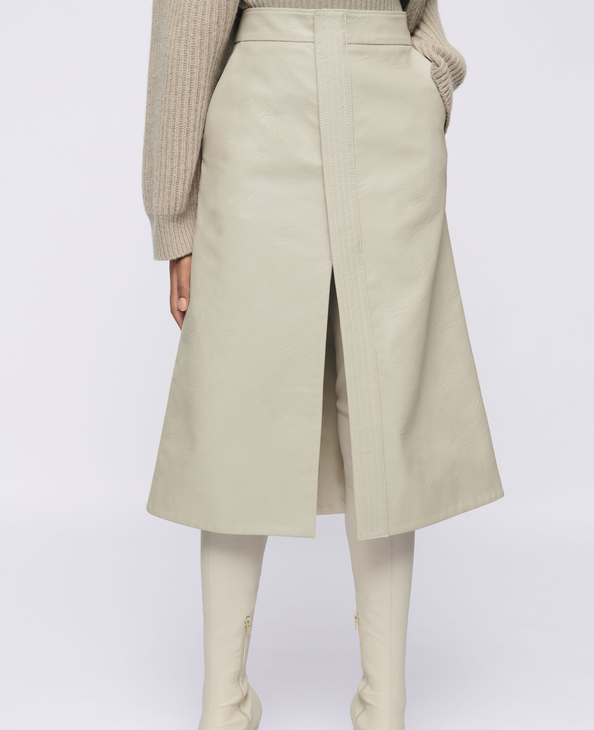 Lauren Alter Mat Skirt-Beige-large image number 3