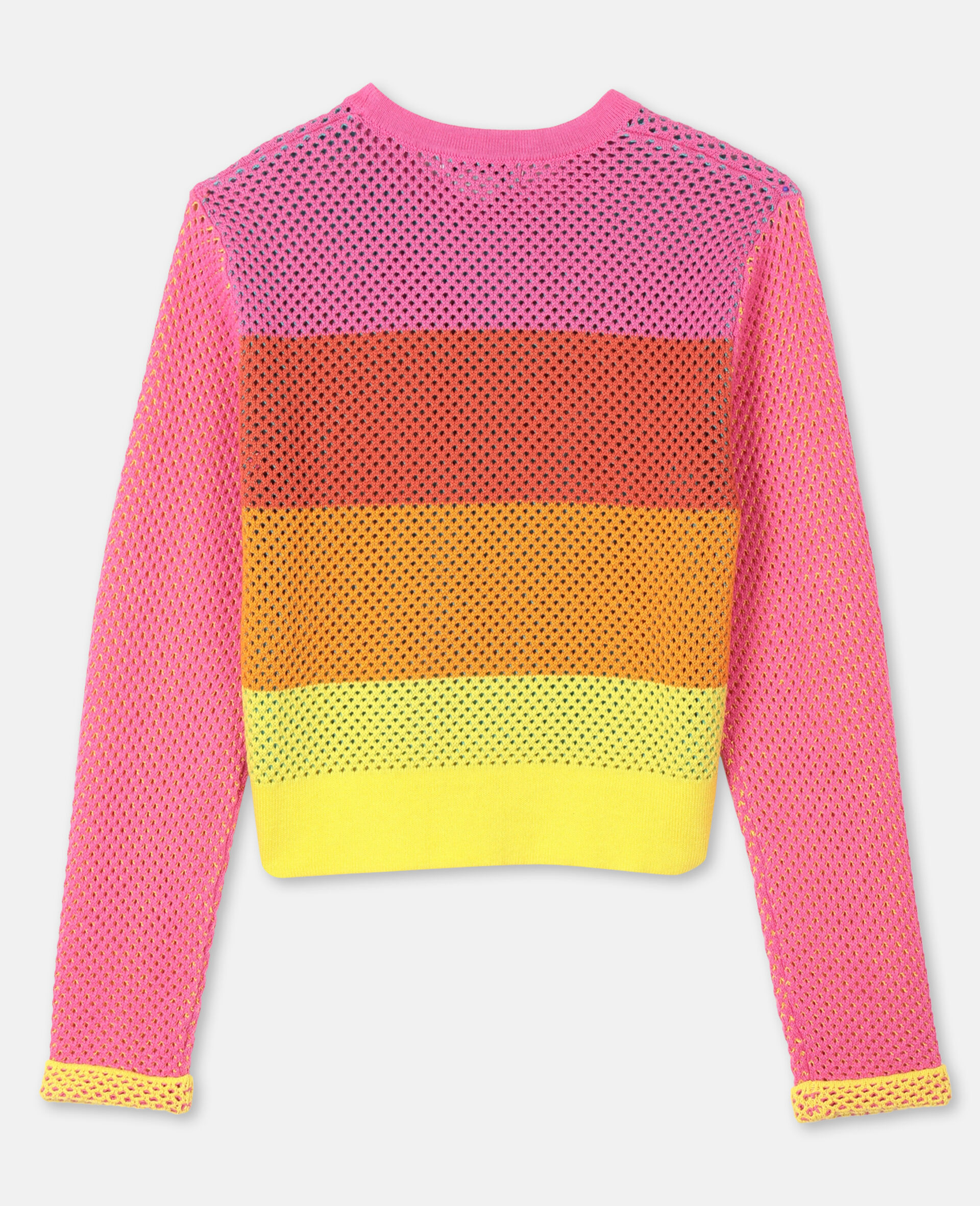 Intarsia Mesh Knit Cotton Sweater -Multicoloured-large image number 3