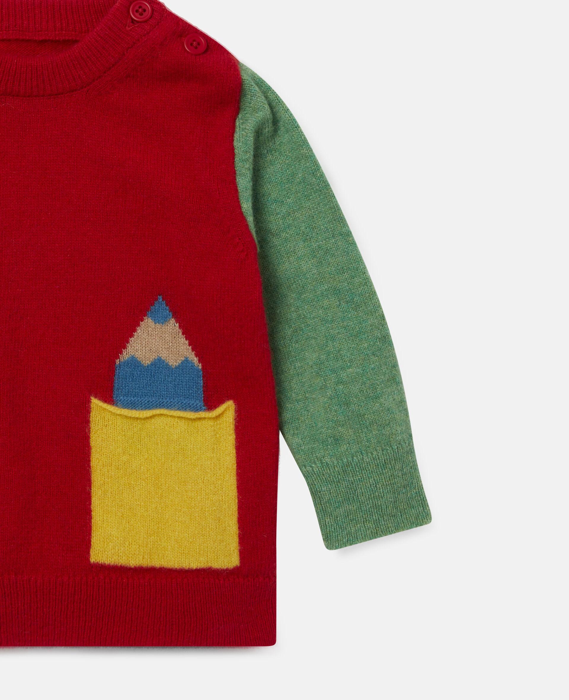 Strickpullover in Blockfarben-Design mit Intarsienmuster-Bunt-large image number 2