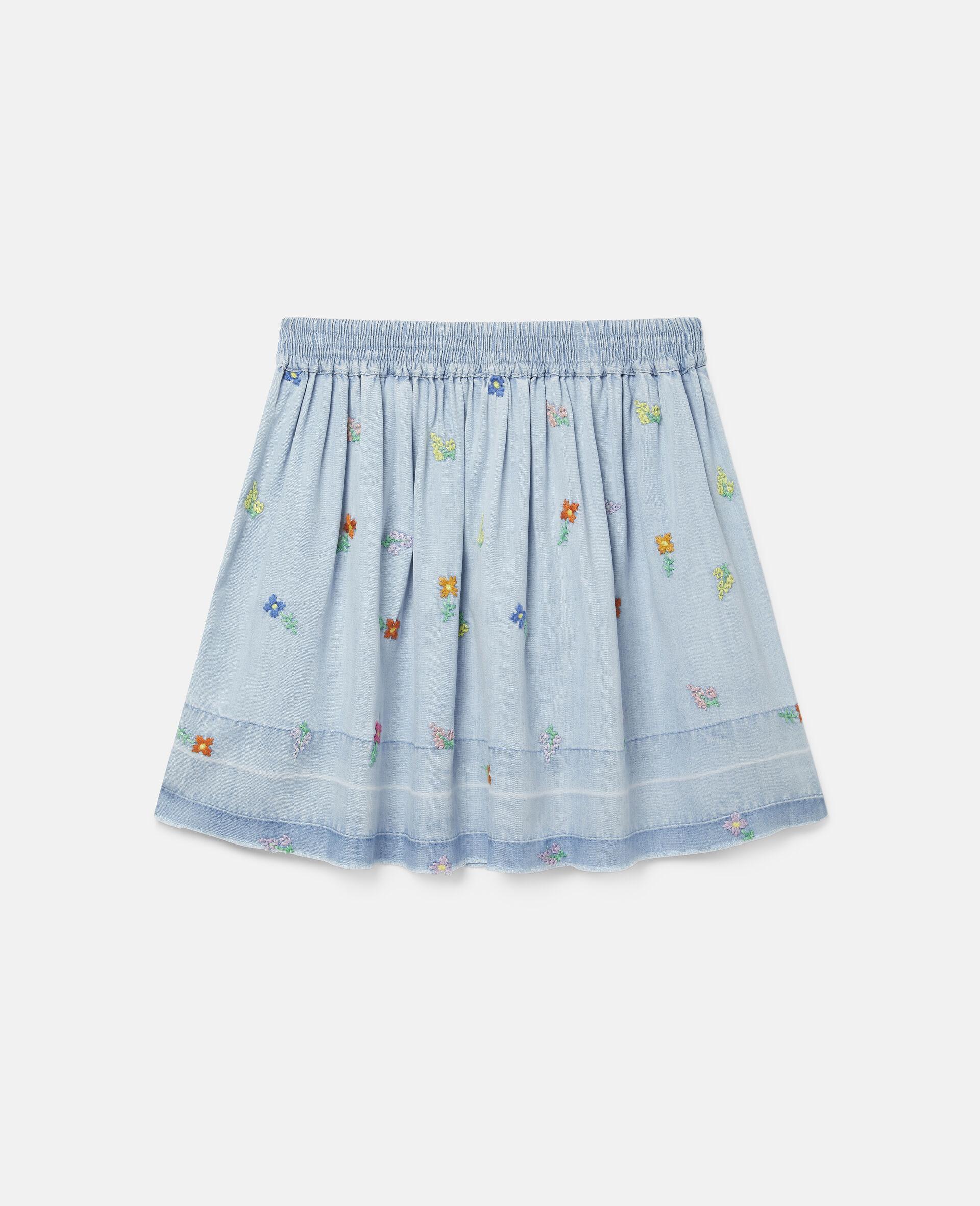 Embroidered Flowers Denim Skirt-Blue-large image number 3
