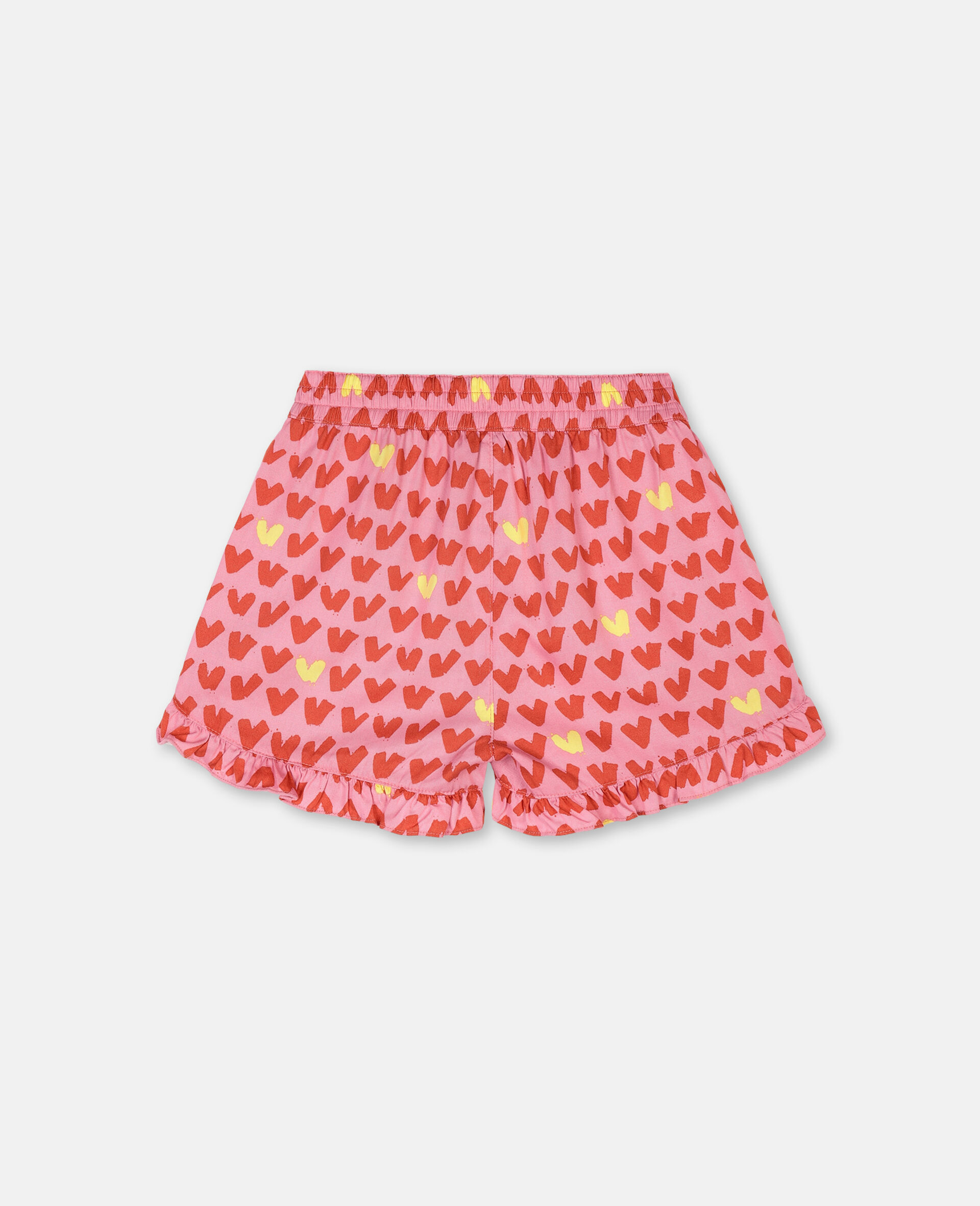 Hearts Viscose Twill Shorts -Pink-large image number 3